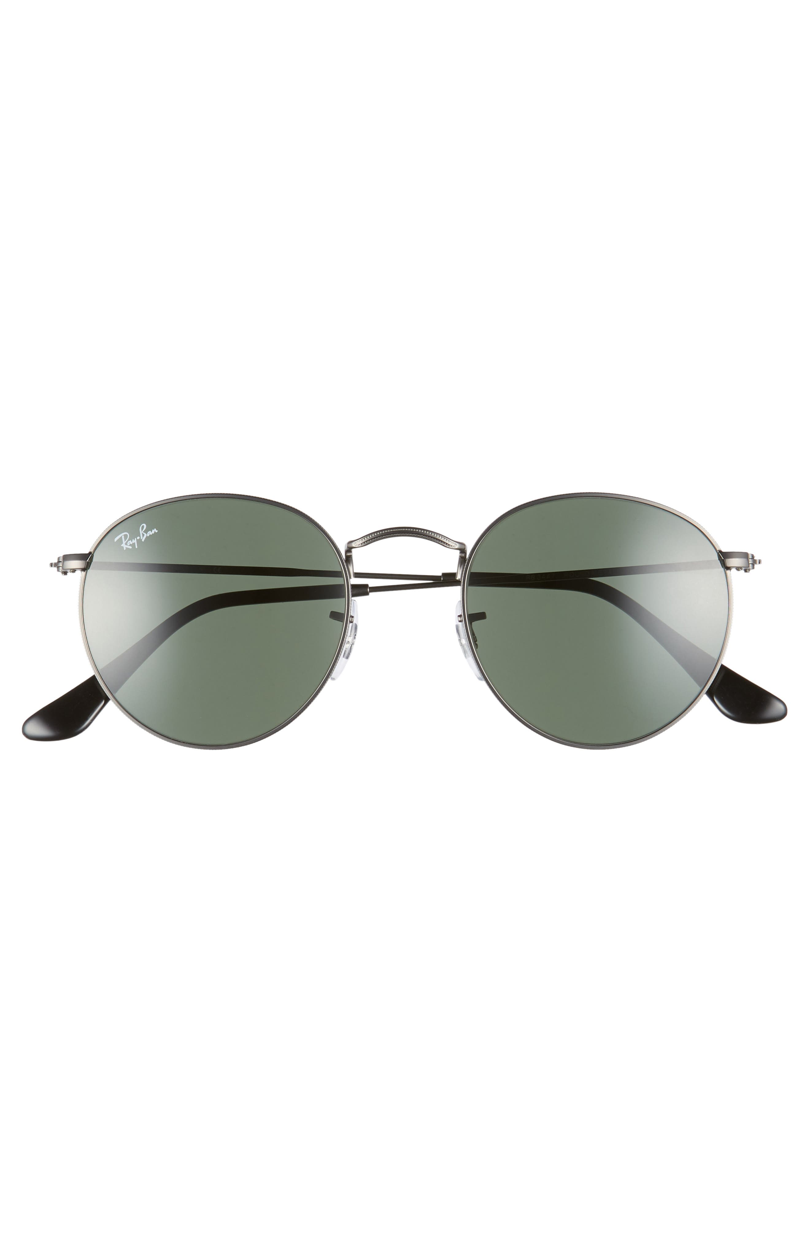 RAY-BAN, Icons 50mm Round Metal Sunglasses, Alternate thumbnail 3, color, GUNMETAL/ GREEN SOLID