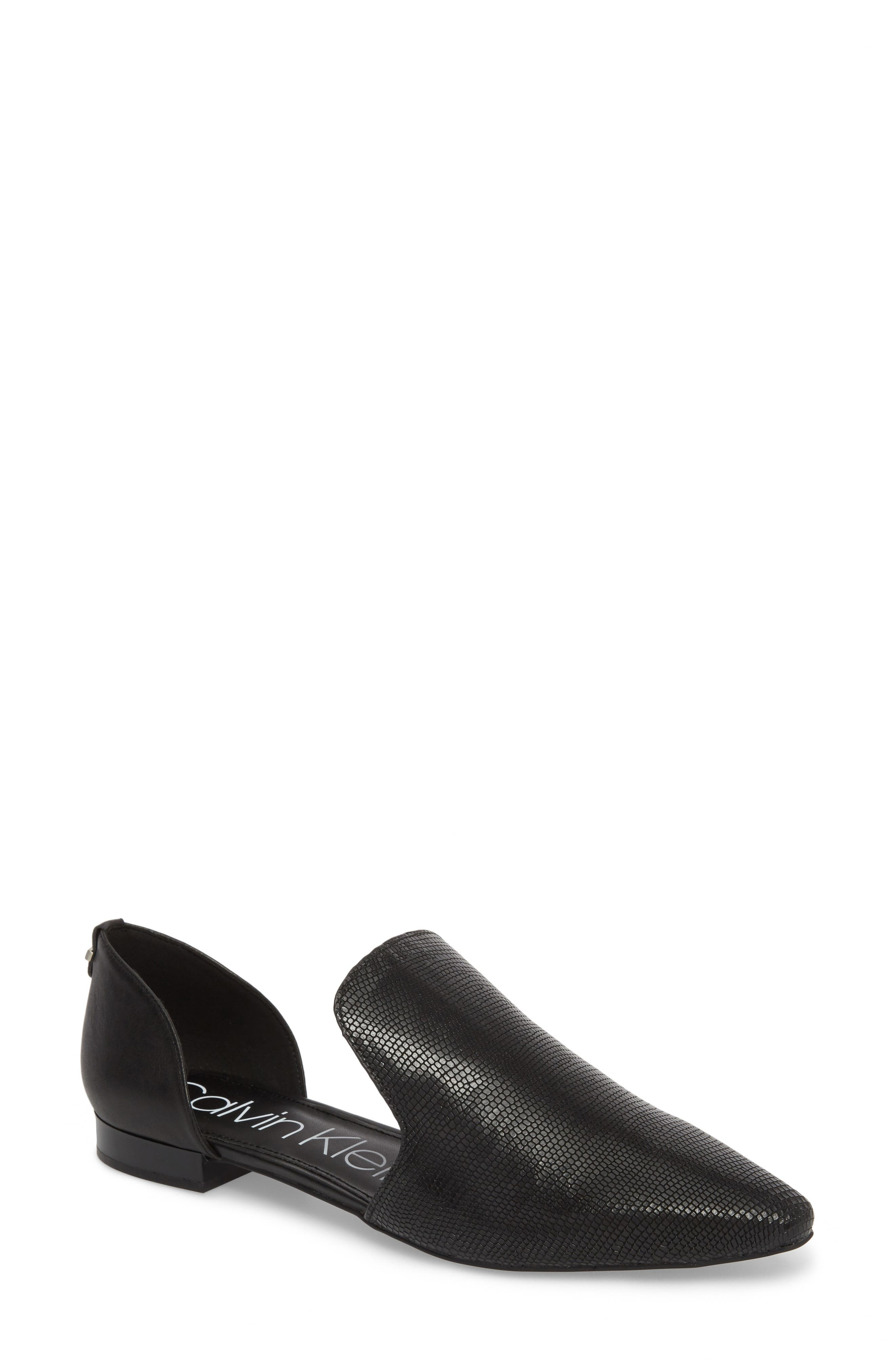 CALVIN KLEIN Edona Loafer Flat, Main, color, BLACK PRINT LEATHER
