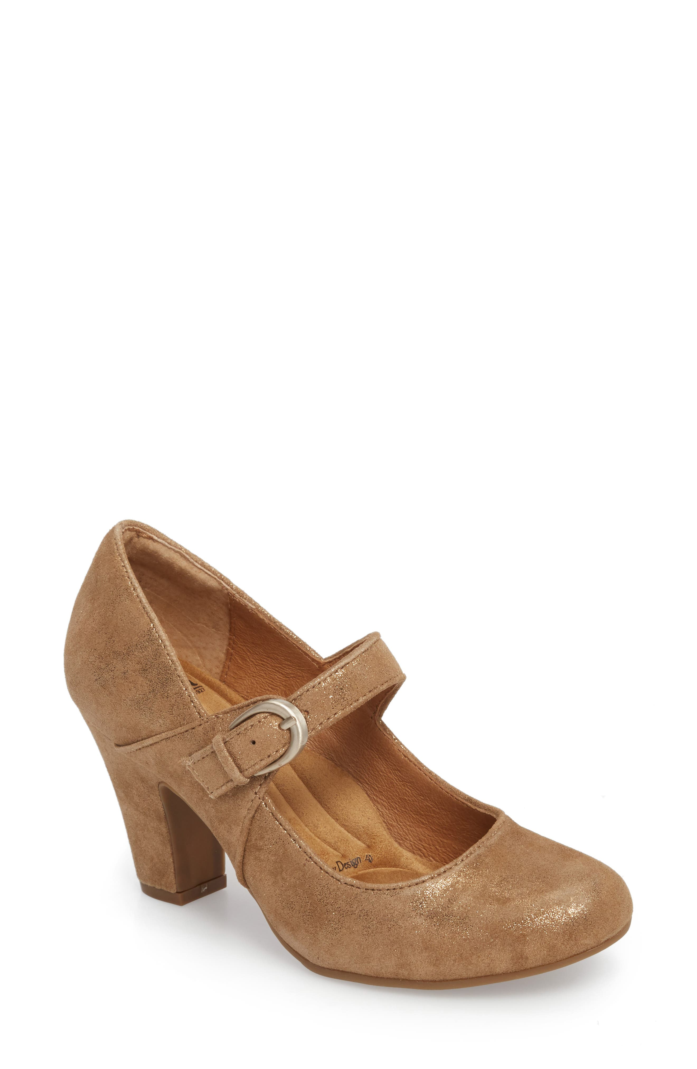 SÖFFT, 'Miranda' Mary Jane Pump, Main thumbnail 1, color, GOLD DISTRESSED FOIL SUEDE