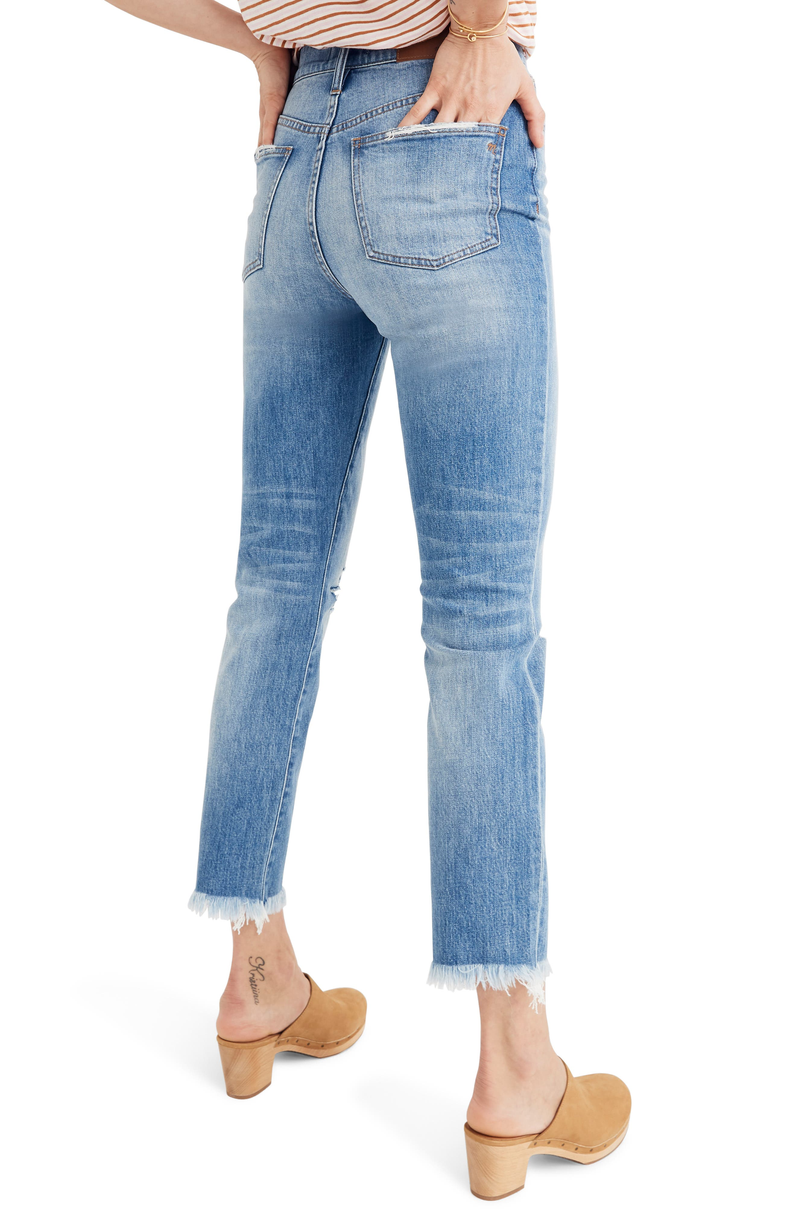 MADEWELL, The Perfect Vintage Crop High Waist Jeans, Alternate thumbnail 4, color, PARNELL WASH