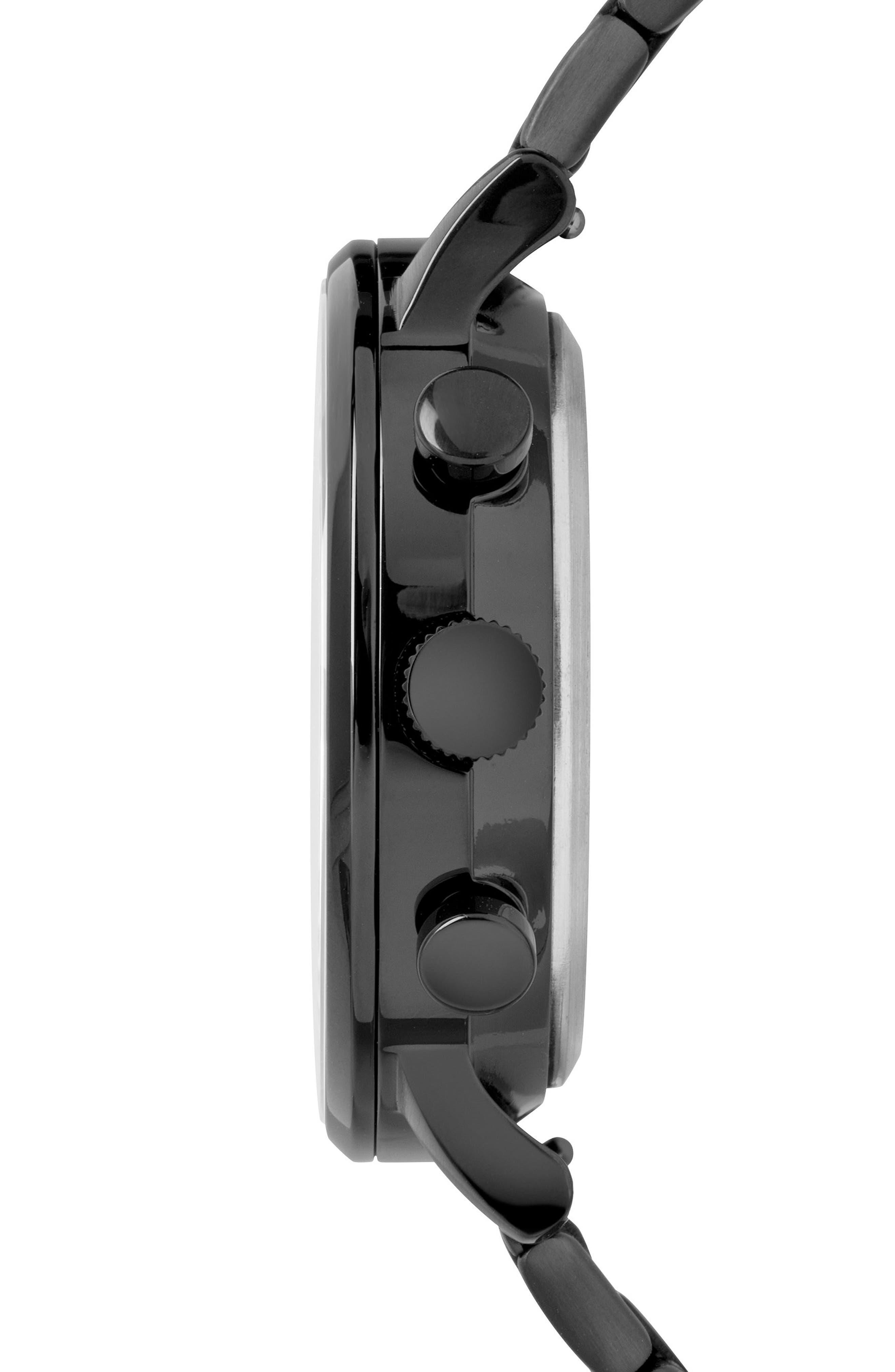 TIMEX<SUP>®</SUP>, Waterbury Chronograph Bracelet Watch, 40mm, Alternate thumbnail 3, color, BLACK