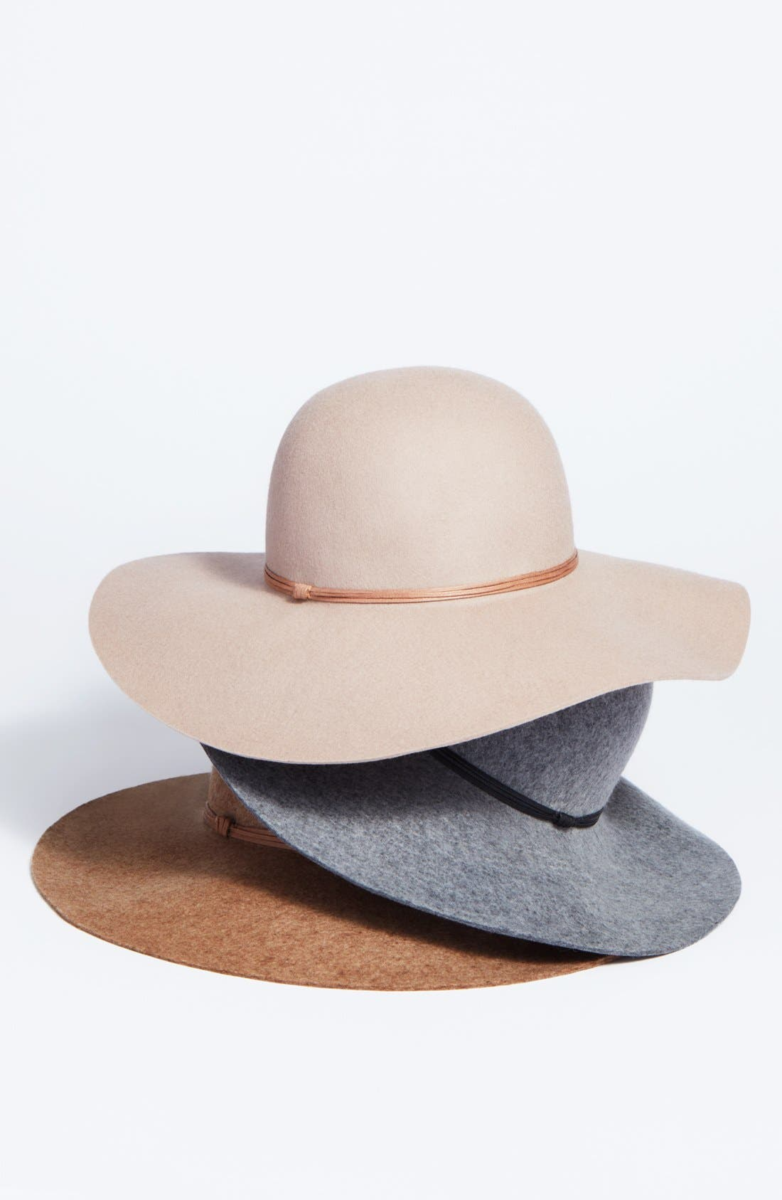 HINGE, Floppy Wool Hat, Alternate thumbnail 3, color, GREY LIGHT HEATHER