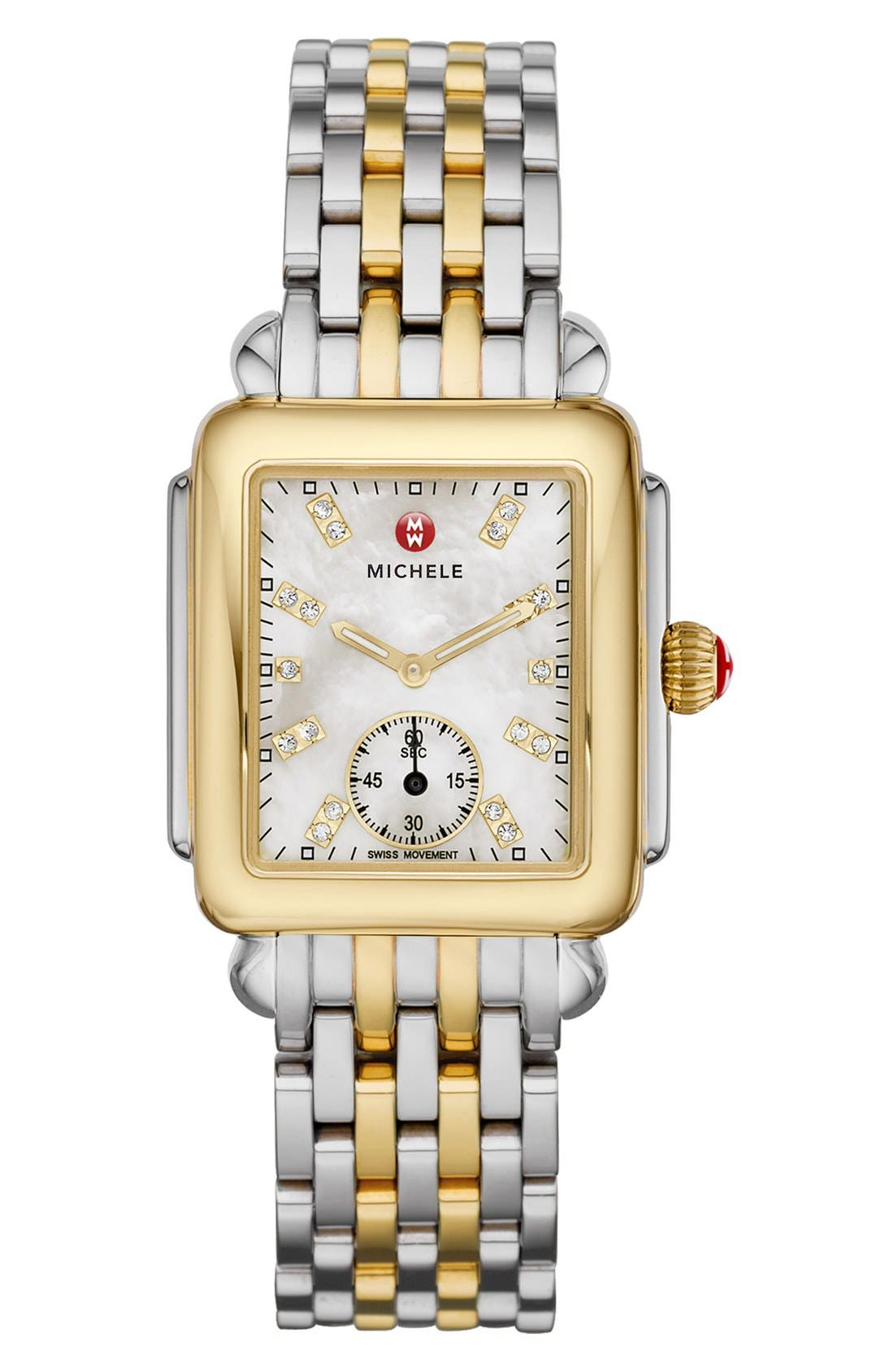 MICHELE, Deco 16 16mm Two-Tone Bracelet Watchband, Alternate thumbnail 5, color, SILVER/ GOLD
