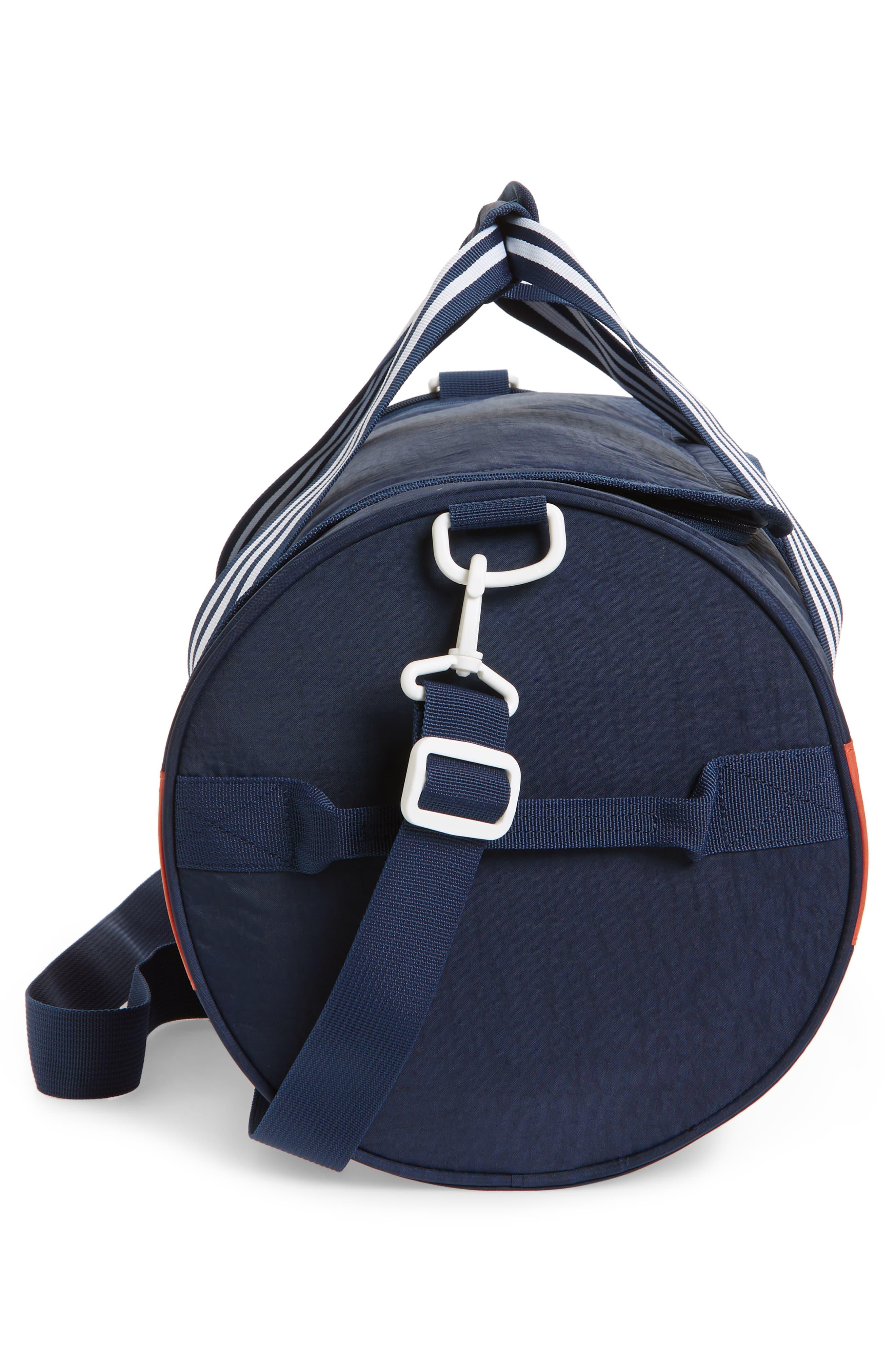 ADIDAS ORIGINALS, adidas Spirit Roll Duffle Bag, Alternate thumbnail 5, color, COLLEGIATE NAVY/ AMBER/ WHITE