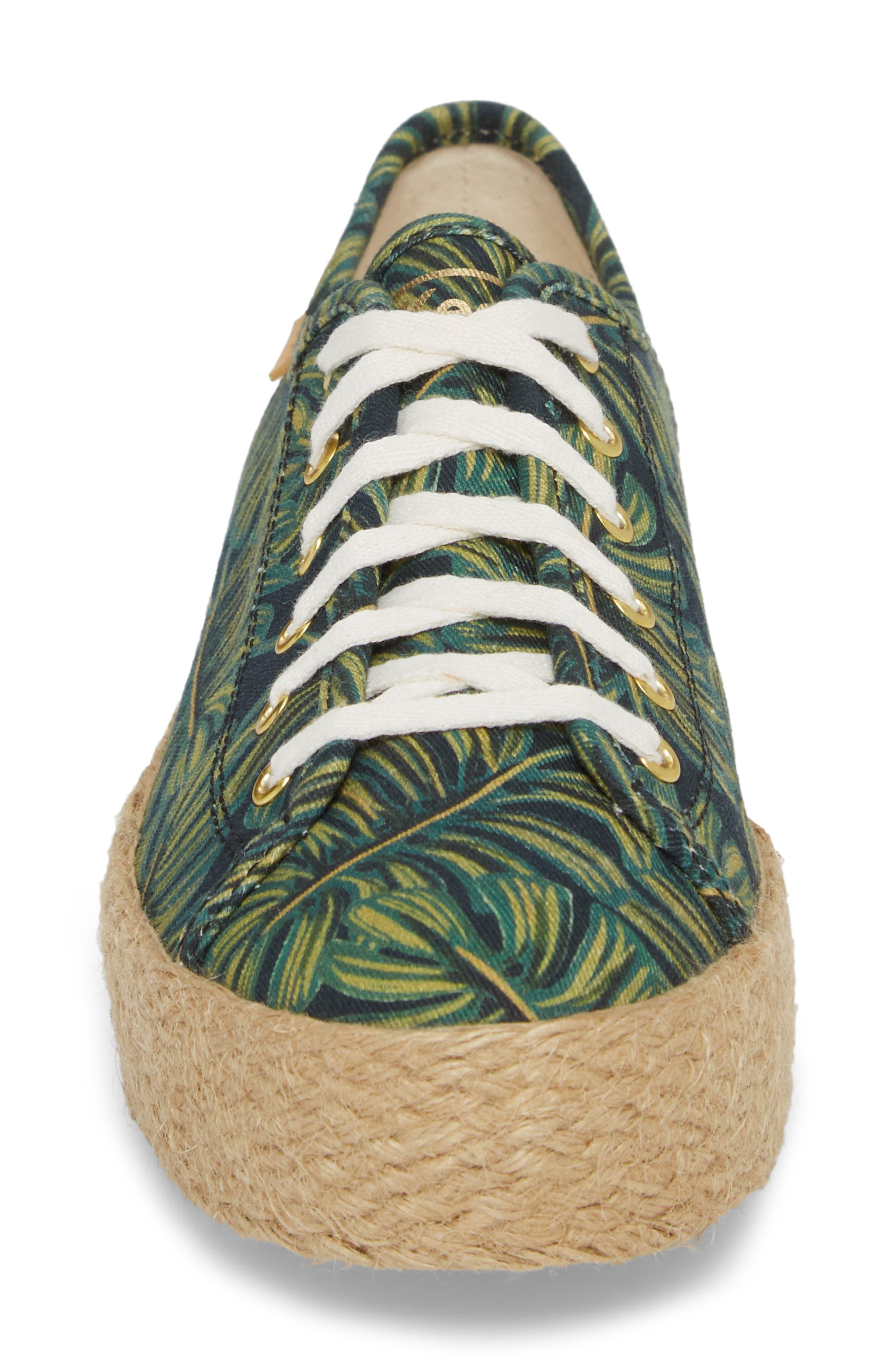 KEDS<SUP>®</SUP>, x Rifle Paper Co. Triple Kick Palms Platform Sneaker, Alternate thumbnail 4, color, 001