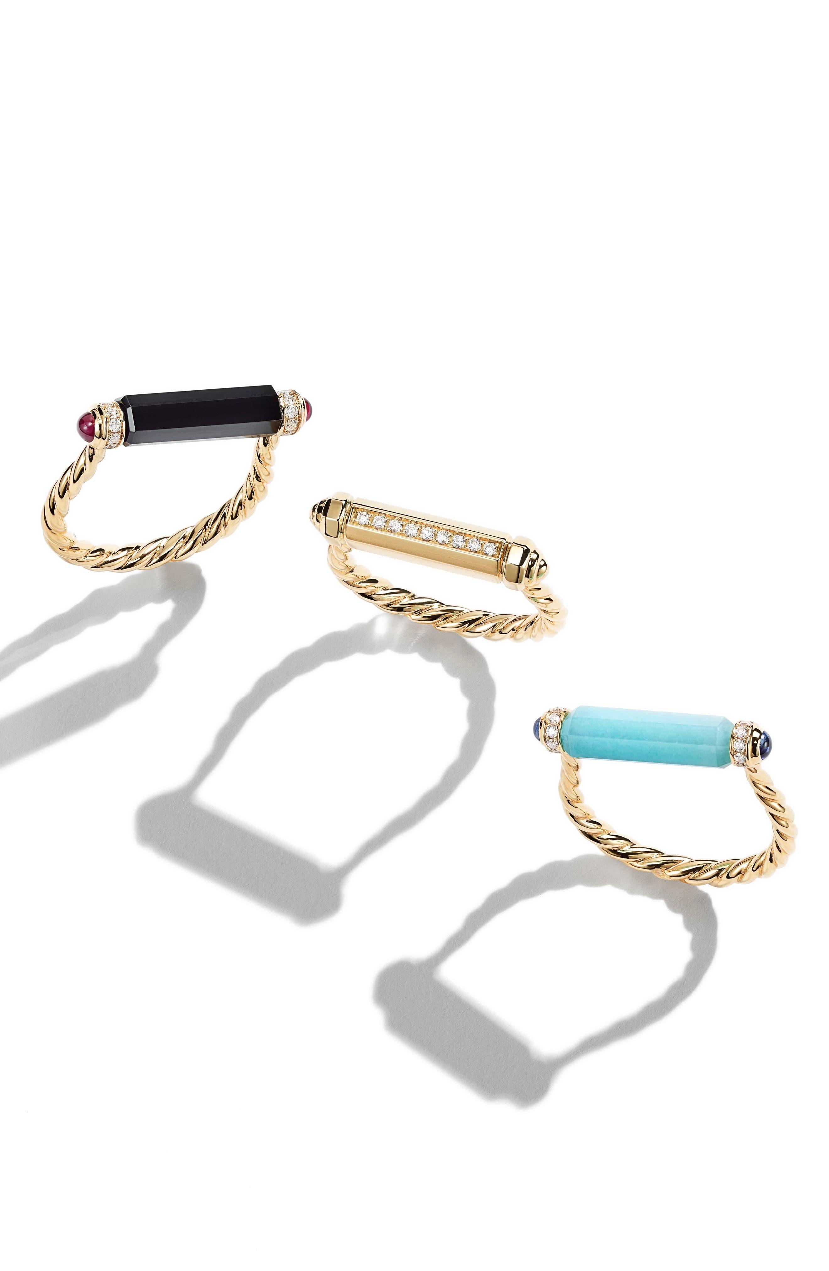 DAVID YURMAN, Barrels Ring with Diamonds in 18K Gold, Alternate thumbnail 4, color, BLACK ONYX