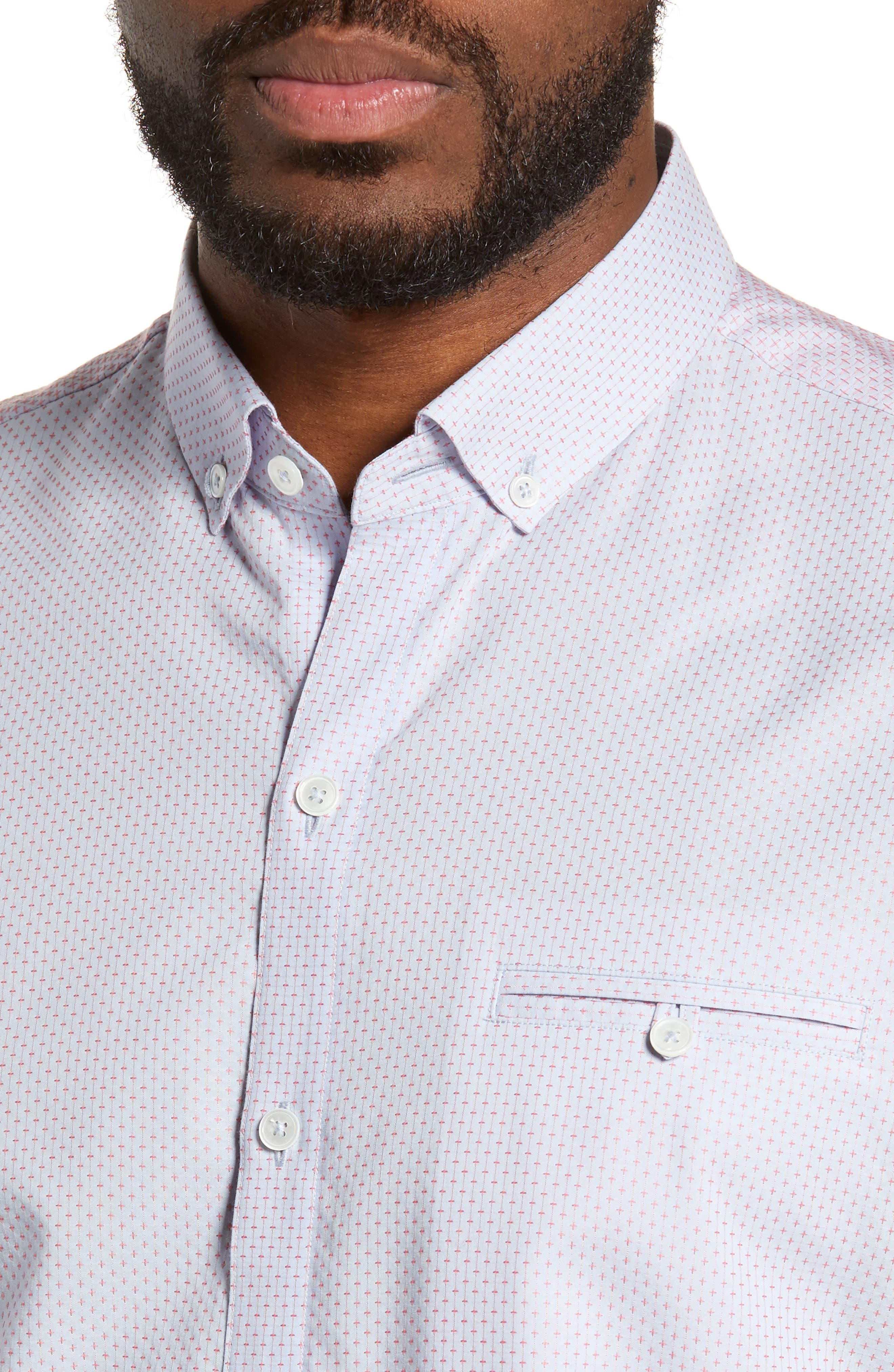 ZACHARY PRELL, McGrew Regular Fit Sport Shirt, Alternate thumbnail 2, color, FLAMINGO