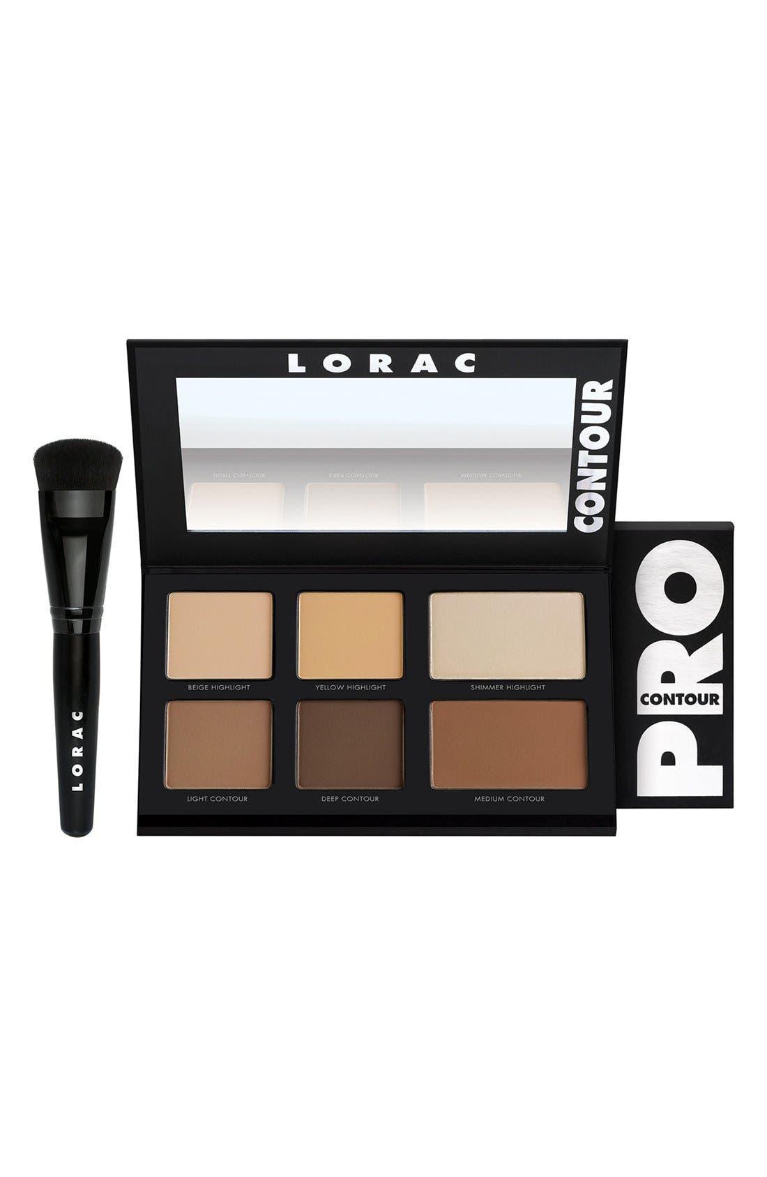 LORAC, 'PRO' Contour Palette & Brush, Main thumbnail 1, color, 000