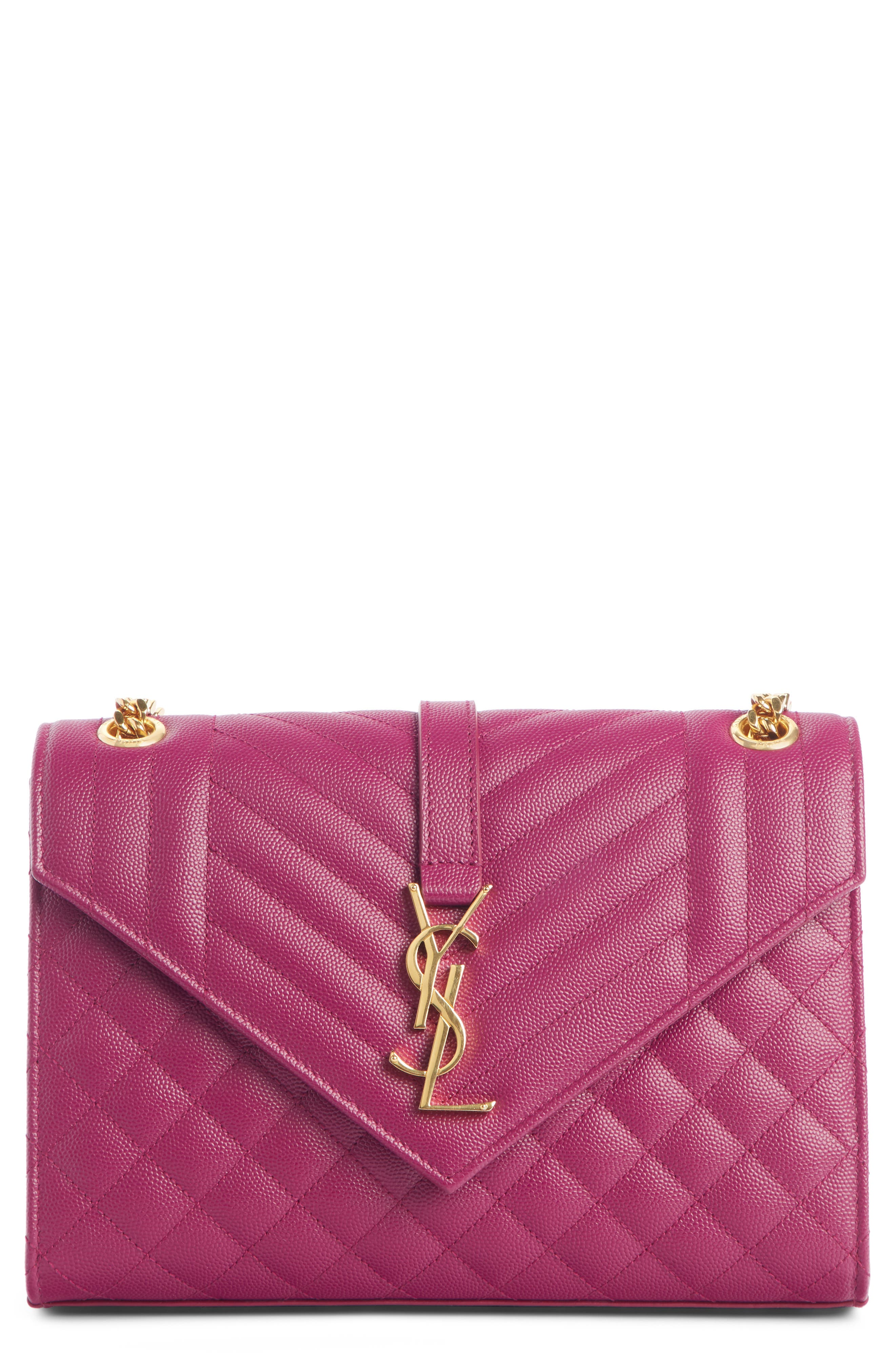 SAINT LAURENT Medium Cassandre Calfskin Shoulder Bag, Main, color, DARK GRAPE