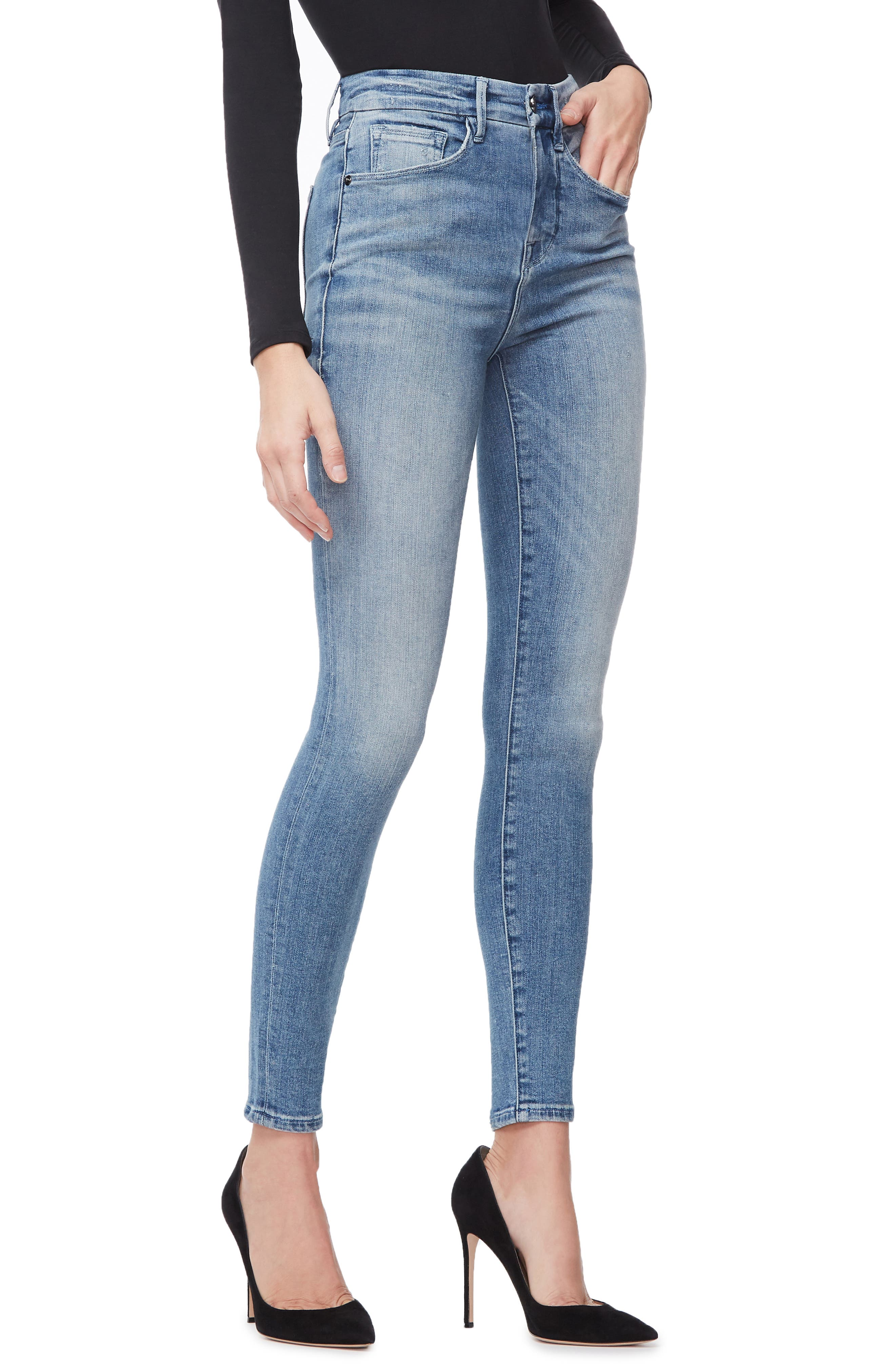 GOOD AMERICAN, Good Waist Ripped High Waist Skinny Jeans, Alternate thumbnail 5, color, BLUE262