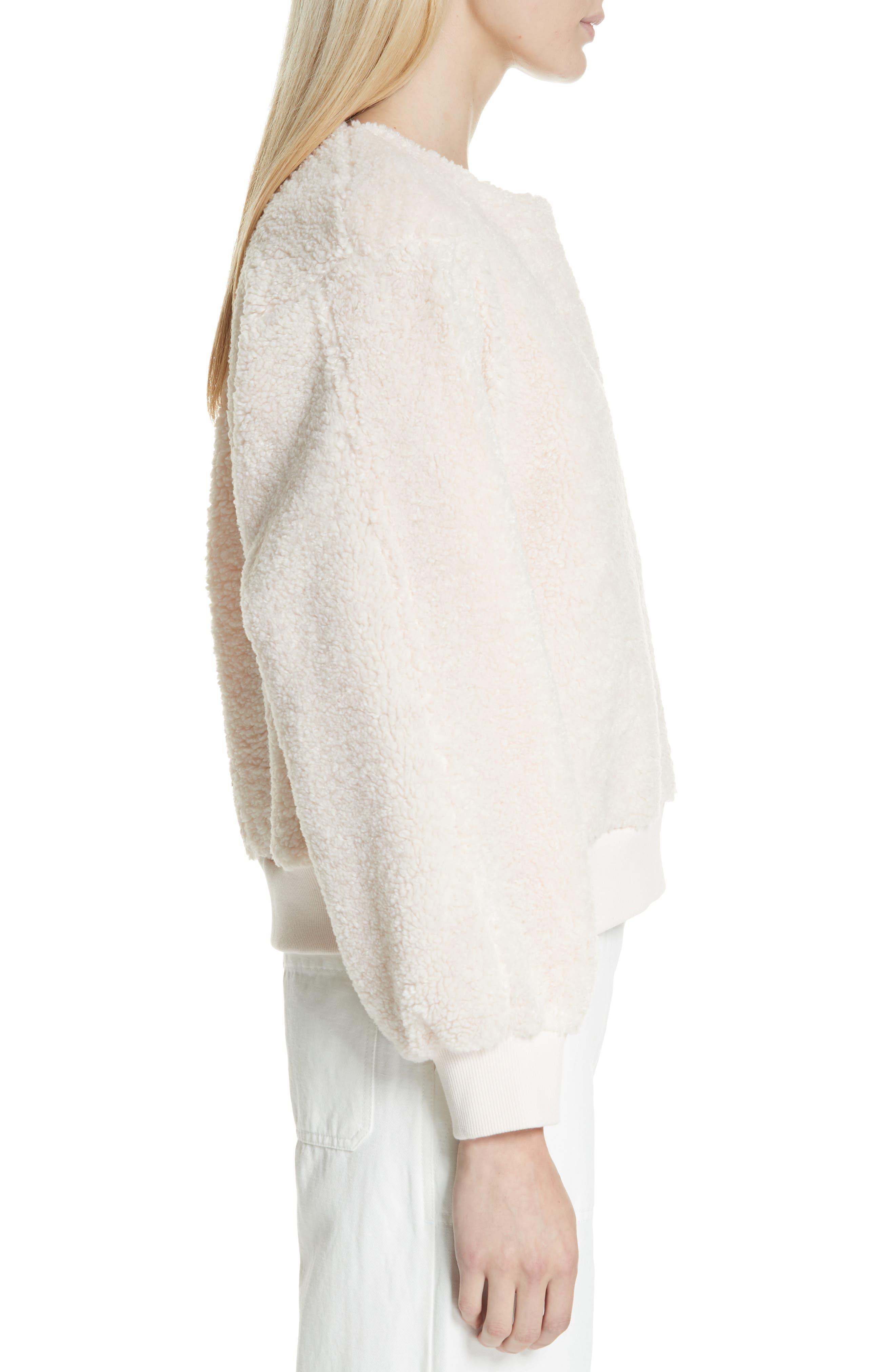 VINCE, Cozy Fleece Pullover, Alternate thumbnail 3, color, SOFT PINK