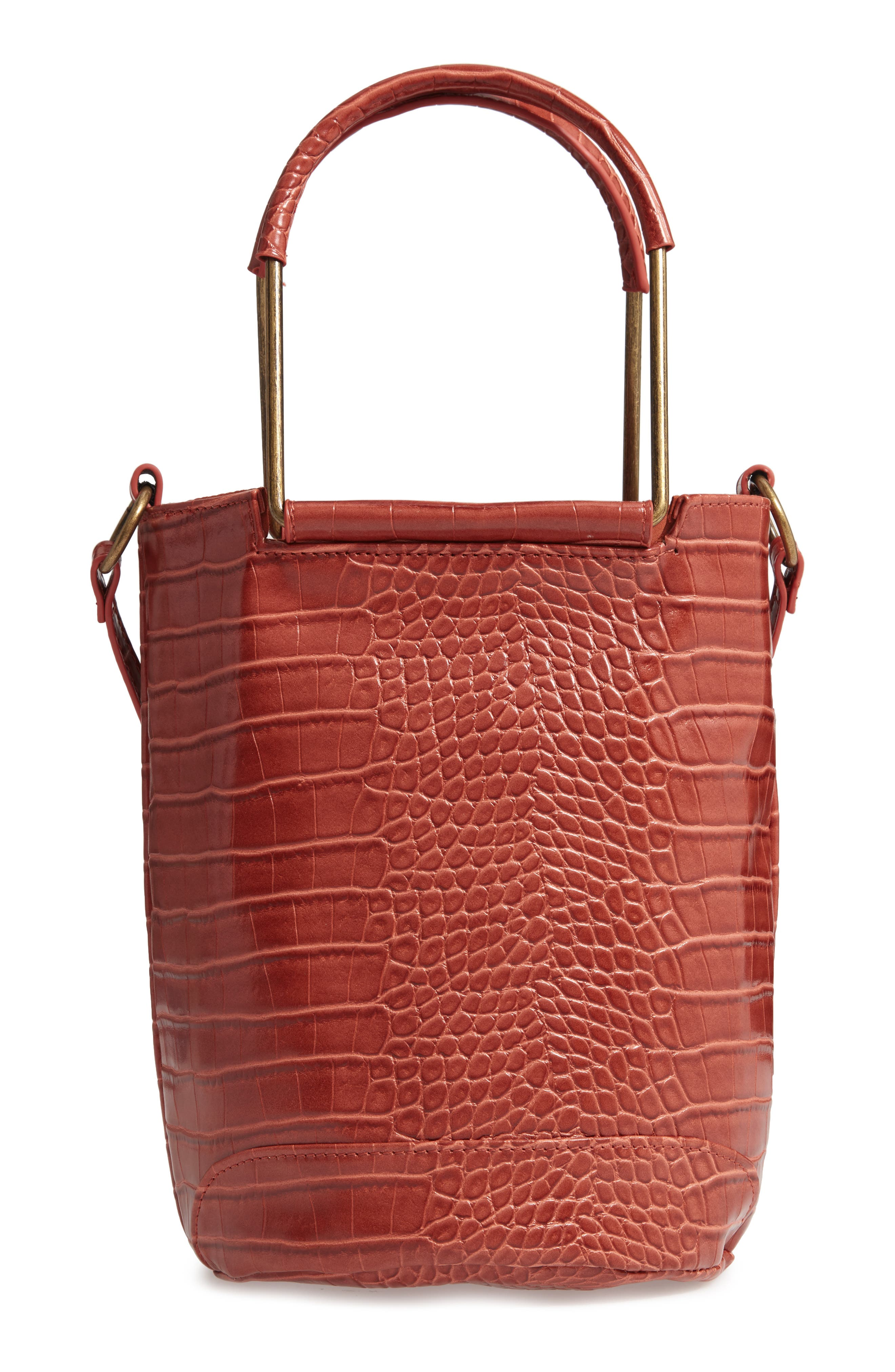 T-SHIRT & JEANS Croc Embossed Faux Leather Tote, Main, color, 810