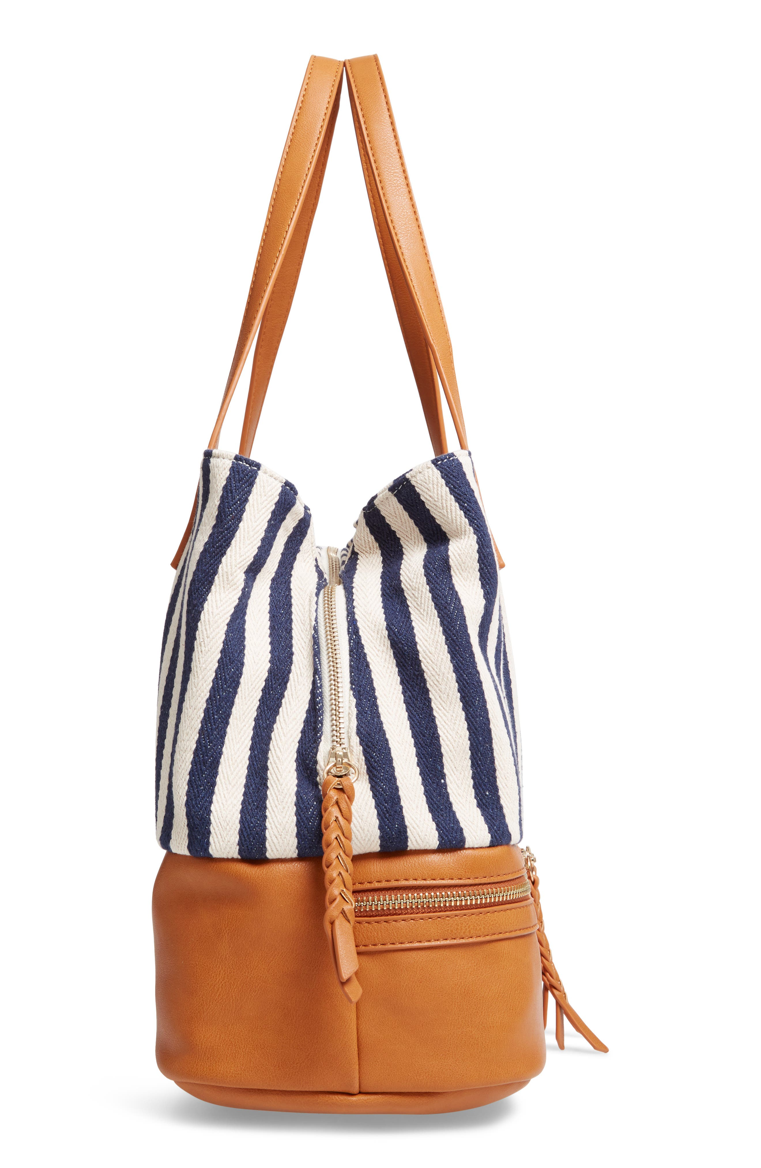 STREET LEVEL, Faux Leather Trim Weekend Bag with Shoe Base, Alternate thumbnail 6, color, 400
