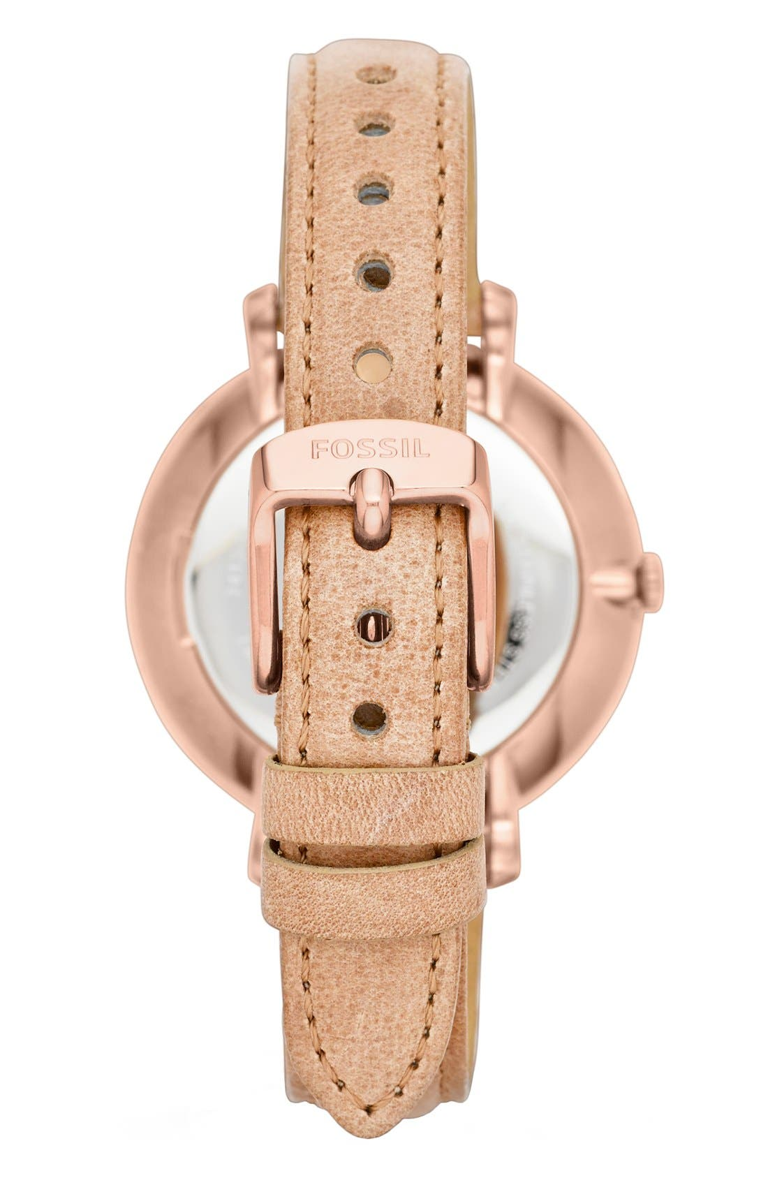 FOSSIL, 'Jacqueline' Round Leather Strap Watch, 36mm, Alternate thumbnail 3, color, SAND/ ROSE GOLD