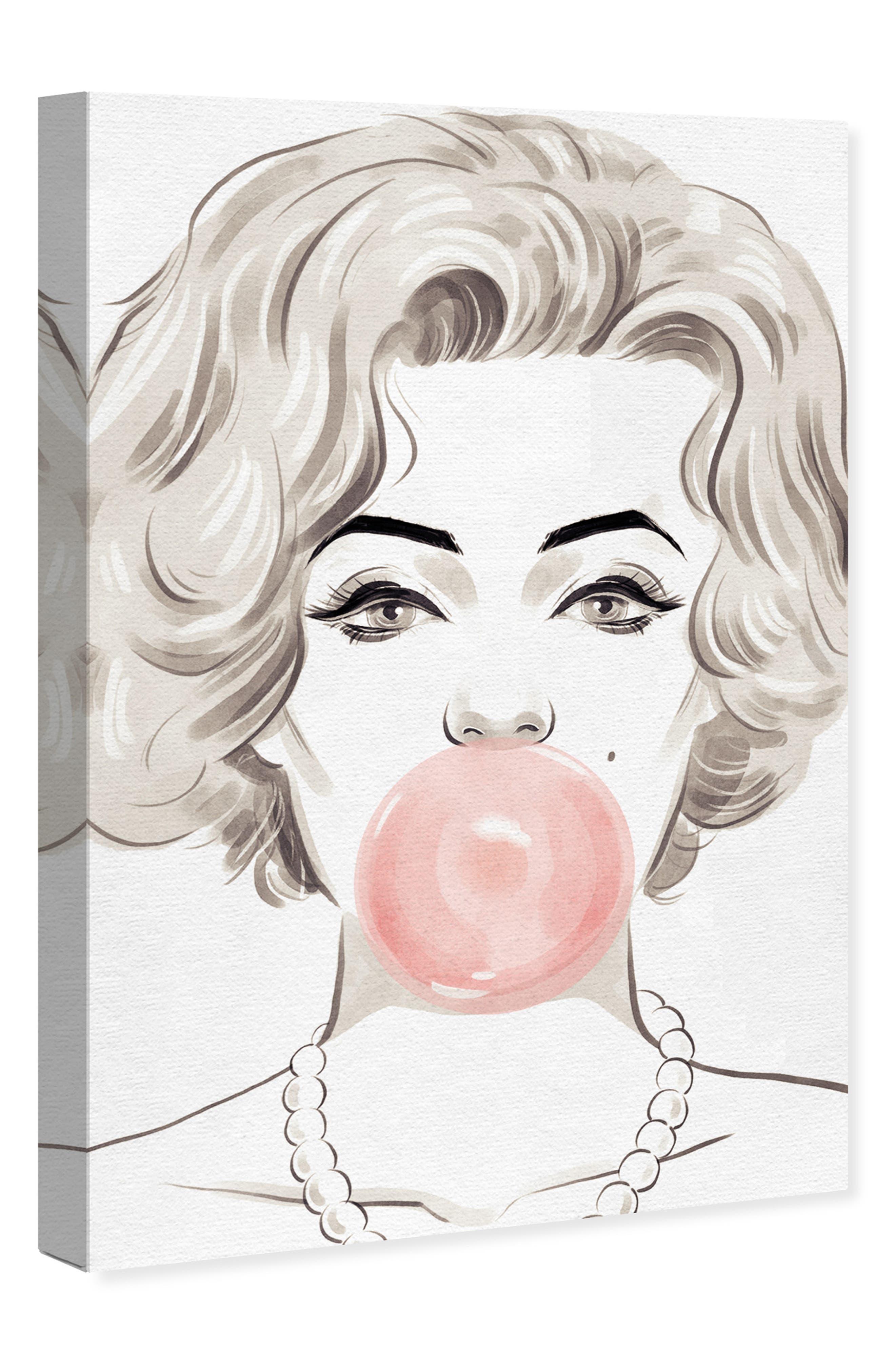 OLIVER GAL, Bubblegum Beauty Canvas Wall Art, Alternate thumbnail 4, color, PINK