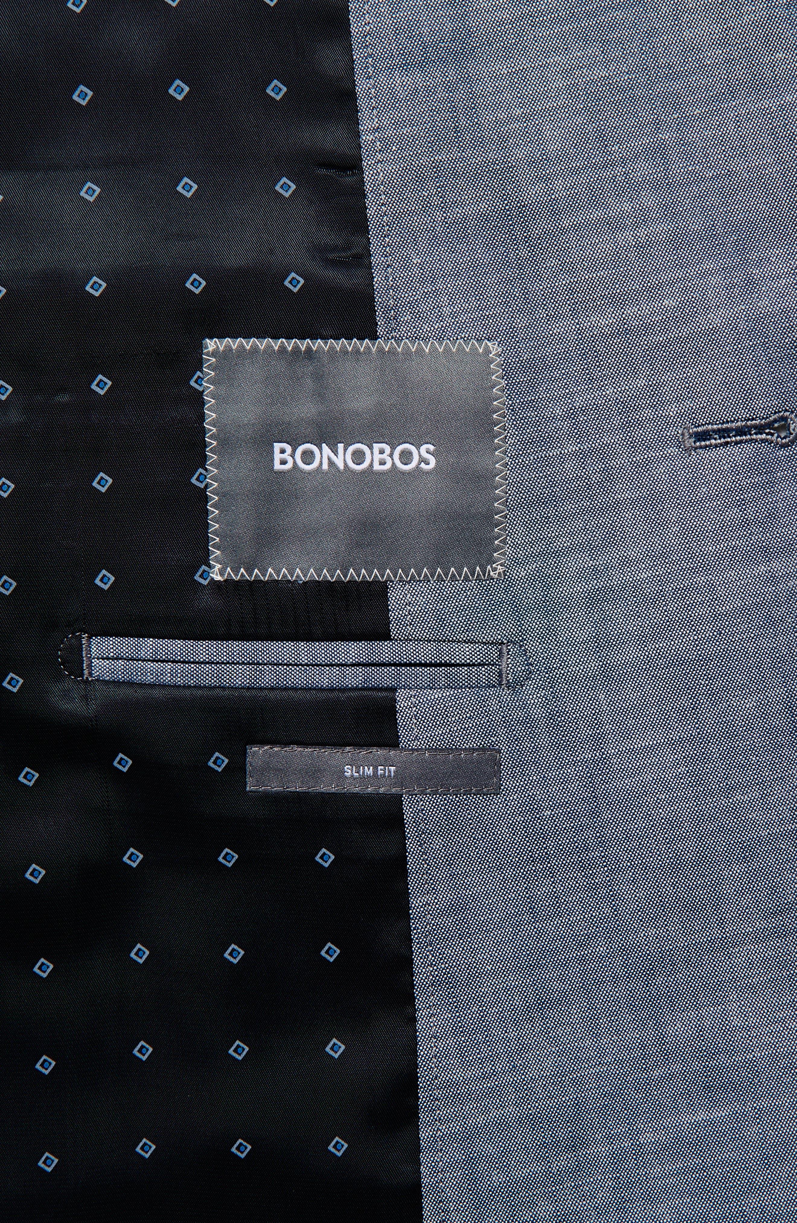 BONOBOS, Slim Fit Chambray Cotton Blazer, Alternate thumbnail 4, color, SOLID BLUE