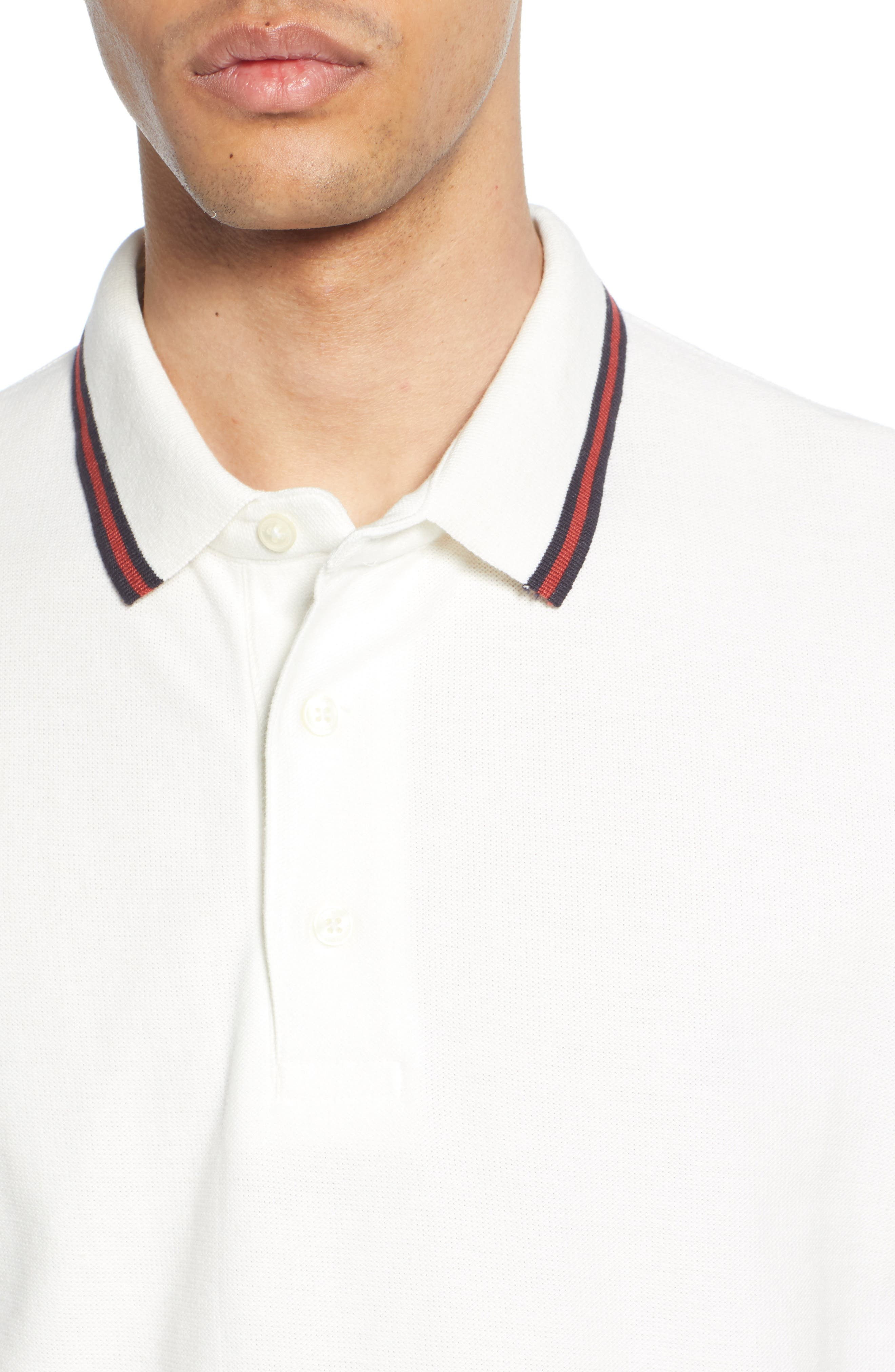 FRENCH CONNECTION, Dobby Jersey Regular Fit Polo, Alternate thumbnail 4, color, MILK BRICK RED