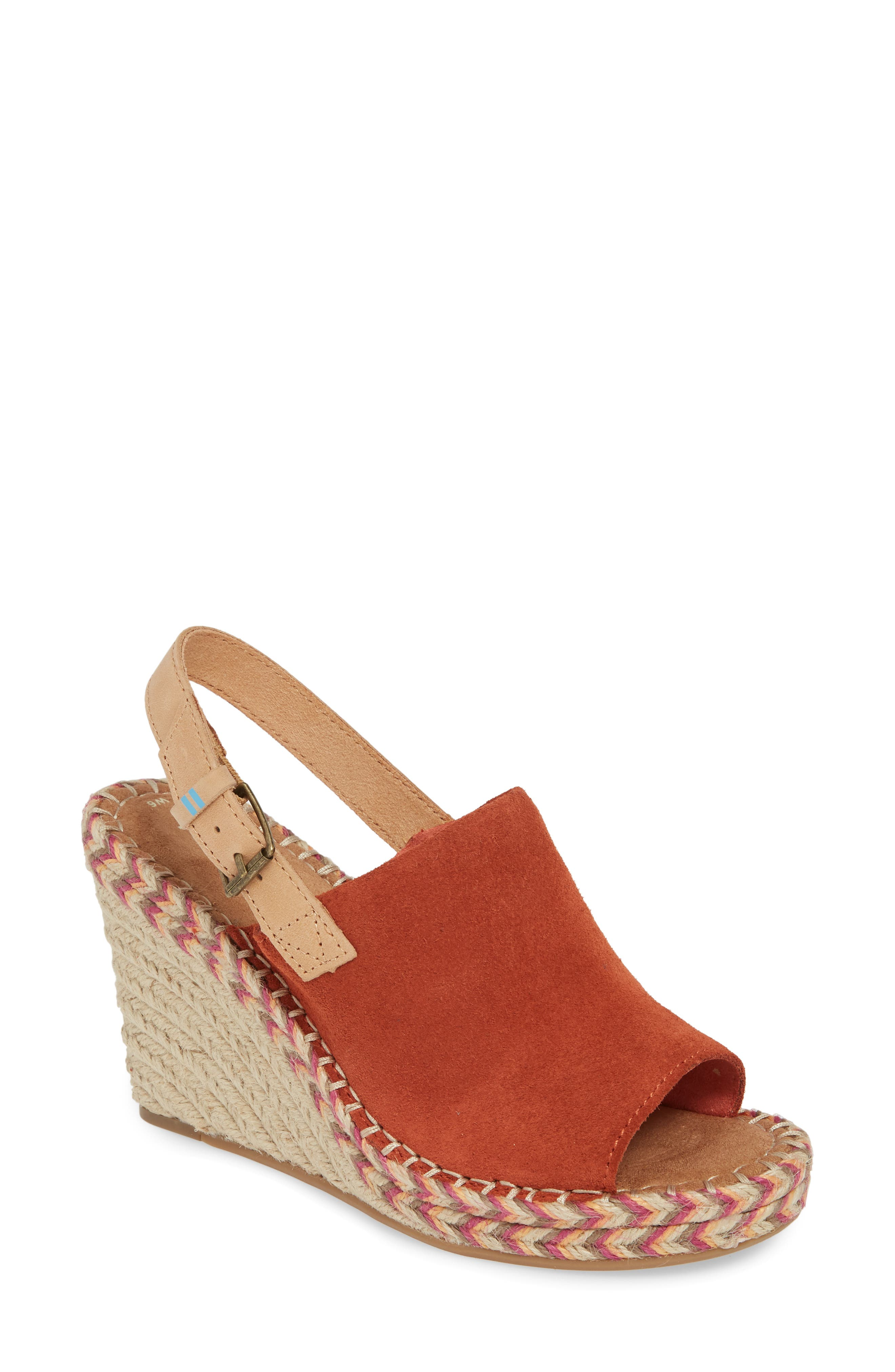 TOMS Monica Slingback Wedge, Main, color, SPICE SUEDE