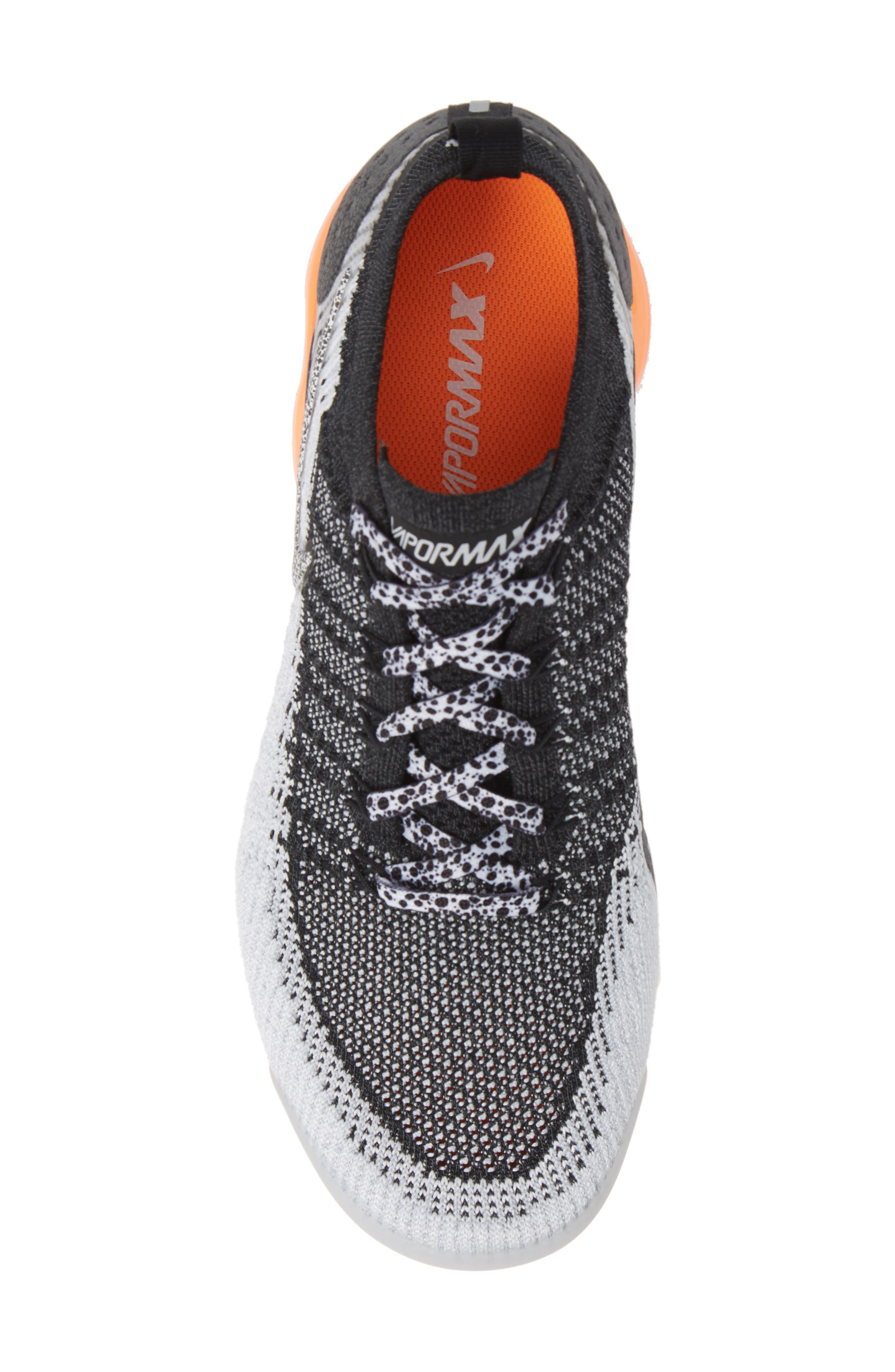 NIKE, Air VaporMax Flyknit 2 Running Shoe, Alternate thumbnail 5, color, WHITE/ BLACK/ TOTAL ORANGE