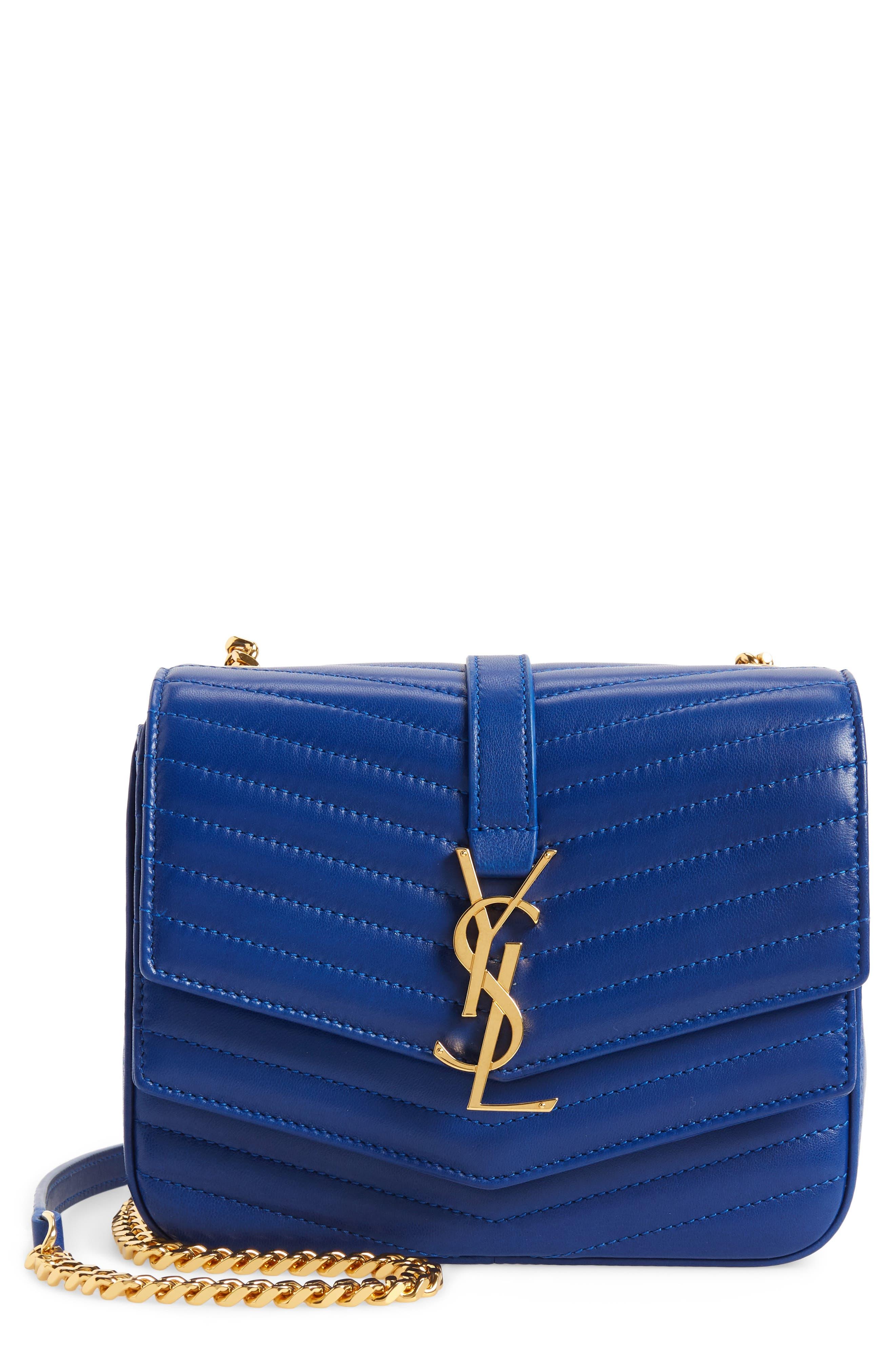 SAINT LAURENT Montaigne Quilted Lambskin Crossbody Bag, Main, color, 400