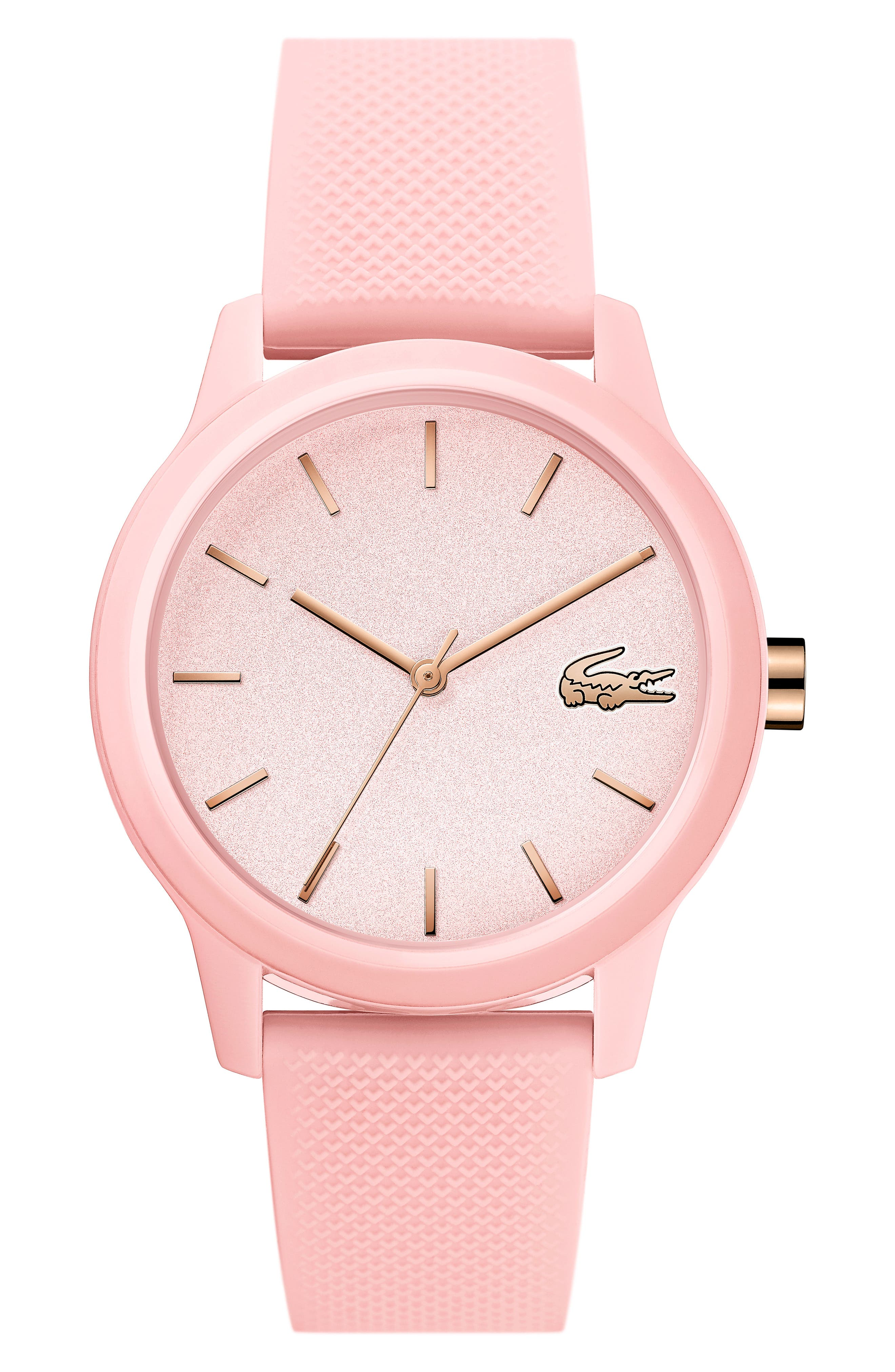 LACOSTE, 12.12 Silicone Strap Watch, 36mm, Main thumbnail 1, color, PINK