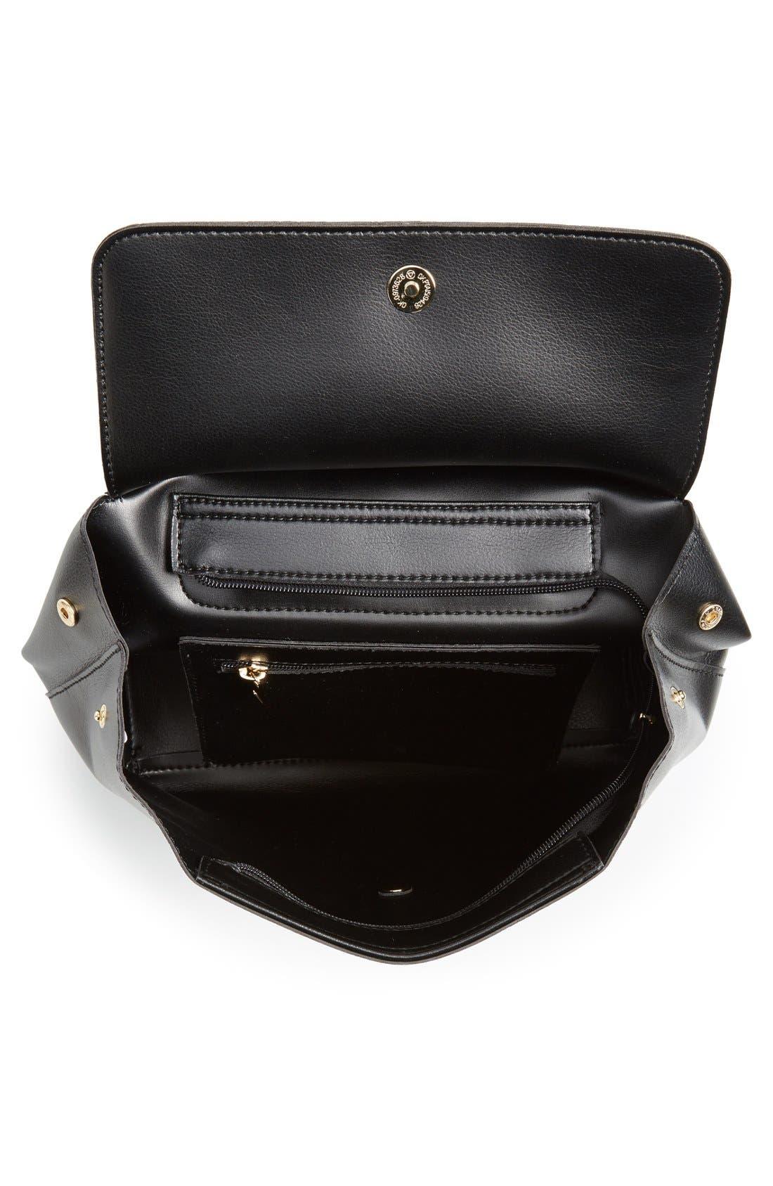 BP., 'Minimal Flap' Faux Leather Backpack, Alternate thumbnail 6, color, 001