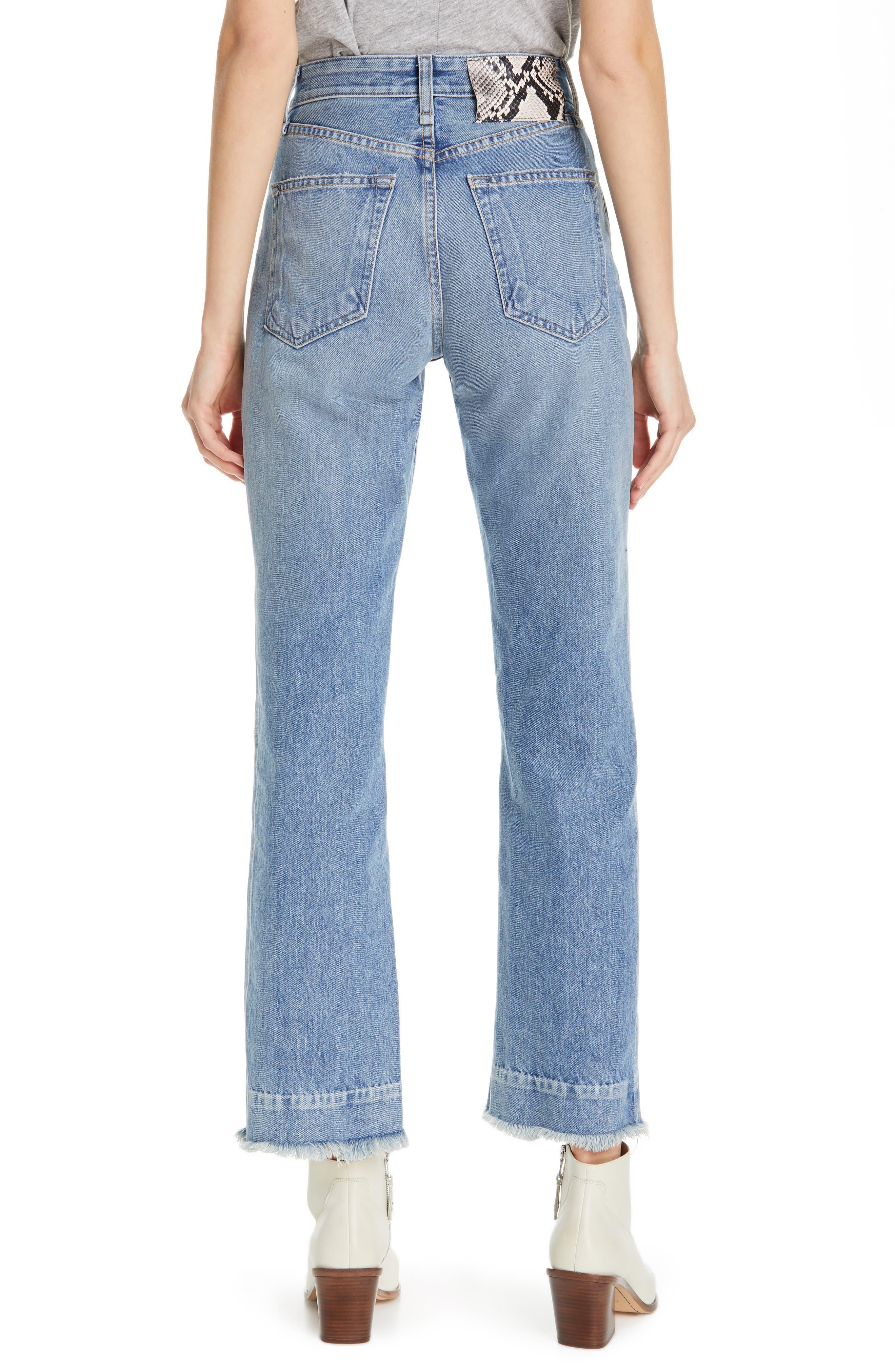 RAG & BONE, Ruth Super High Waist Straight Leg Jeans, Alternate thumbnail 2, color, BABY