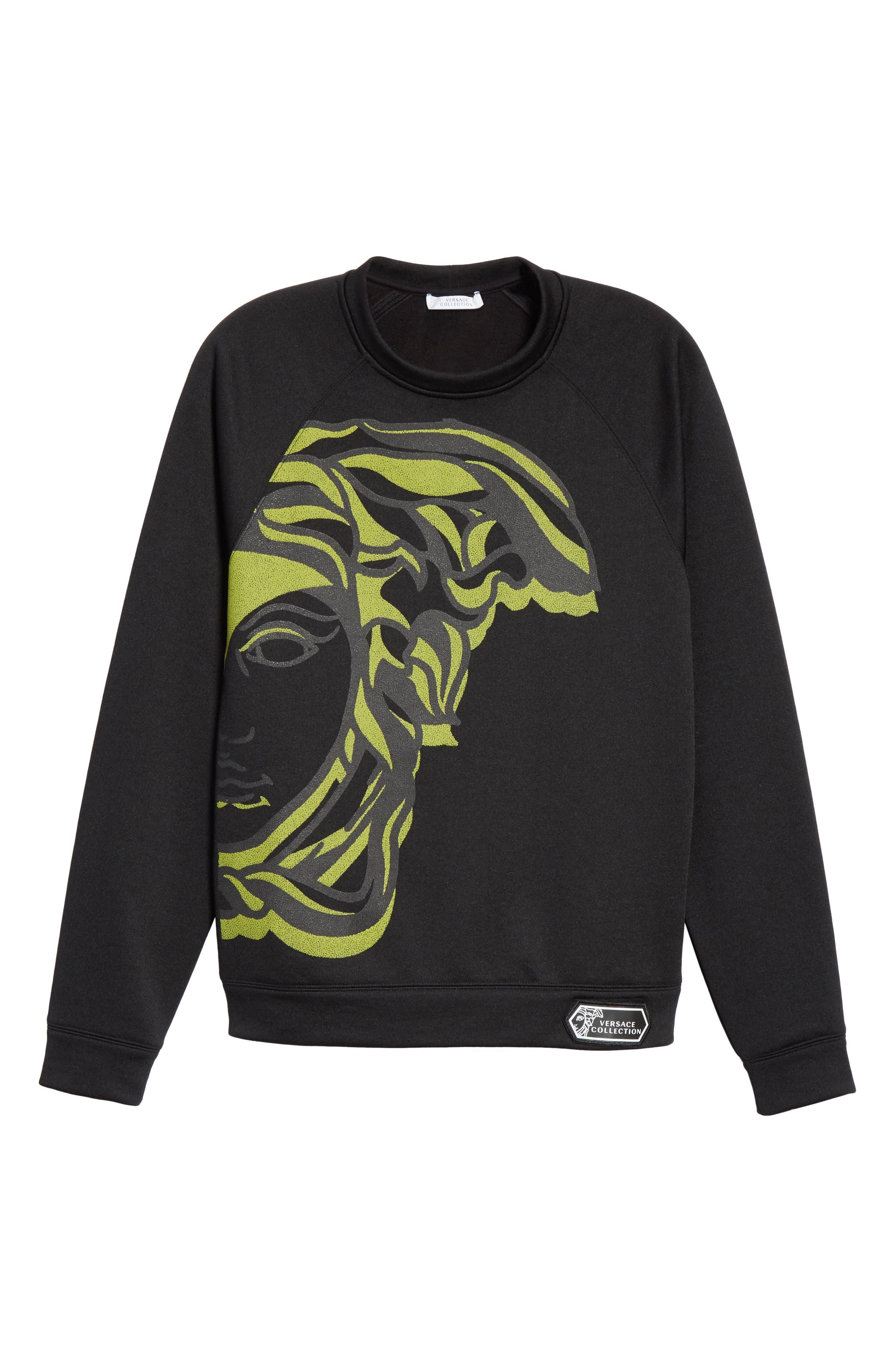 VERSACE COLLECTION, Medusa Print Sweatshirt, Alternate thumbnail 6, color, BLACK/ PAINT