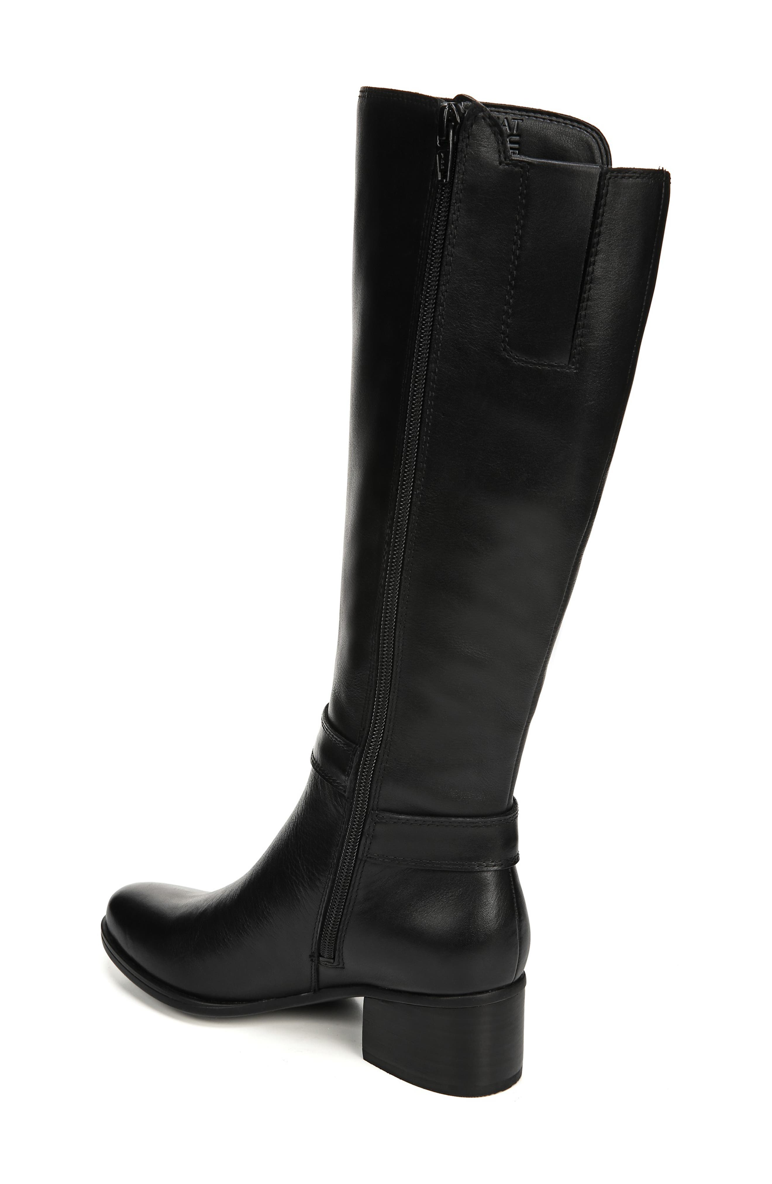 NATURALIZER, Dane Knee High Riding Boot, Alternate thumbnail 2, color, BLACK LEATHER