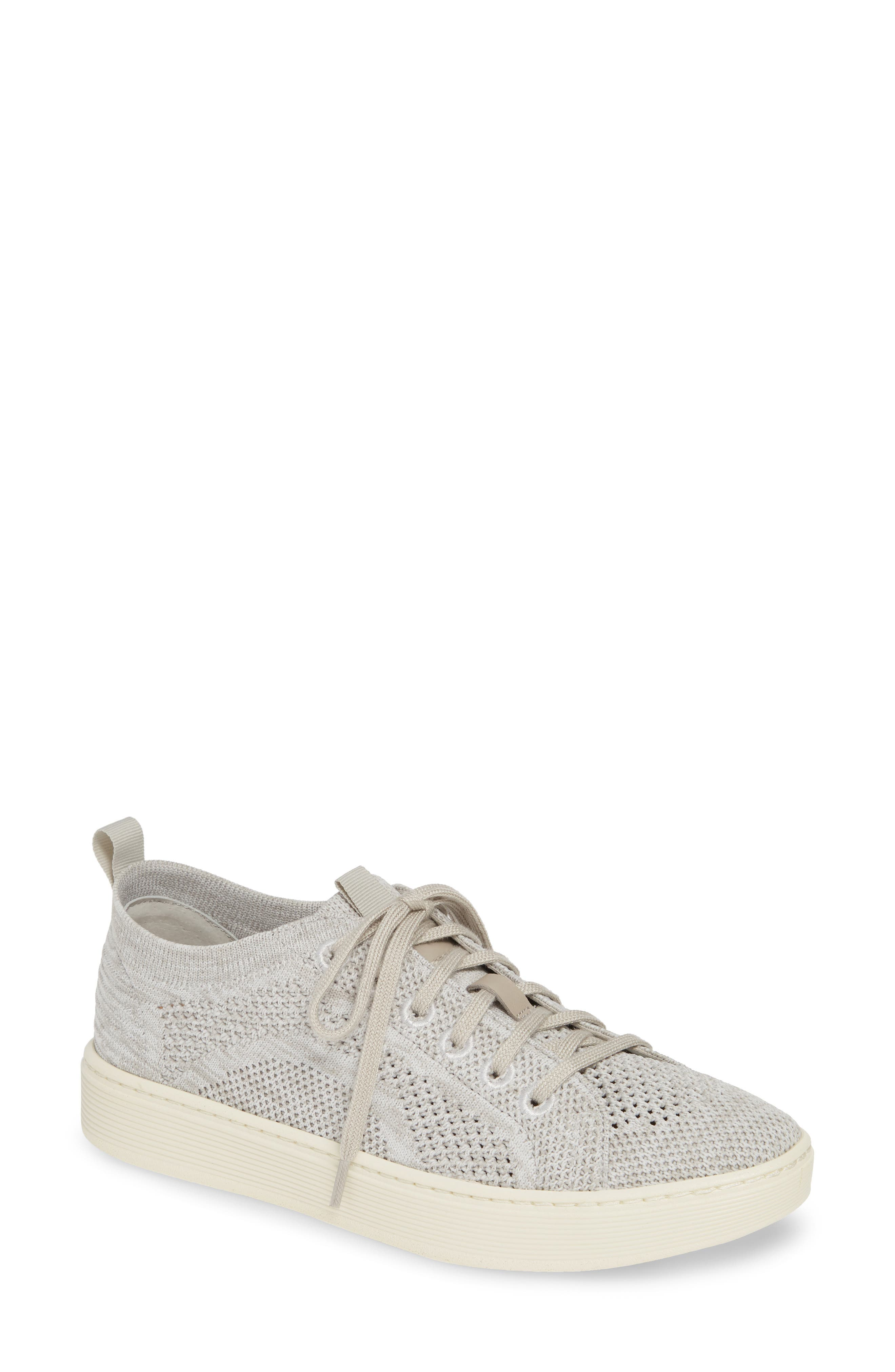 SÖFFT, Somers Knit Sneaker, Main thumbnail 1, color, MIST GREY/ WHITE