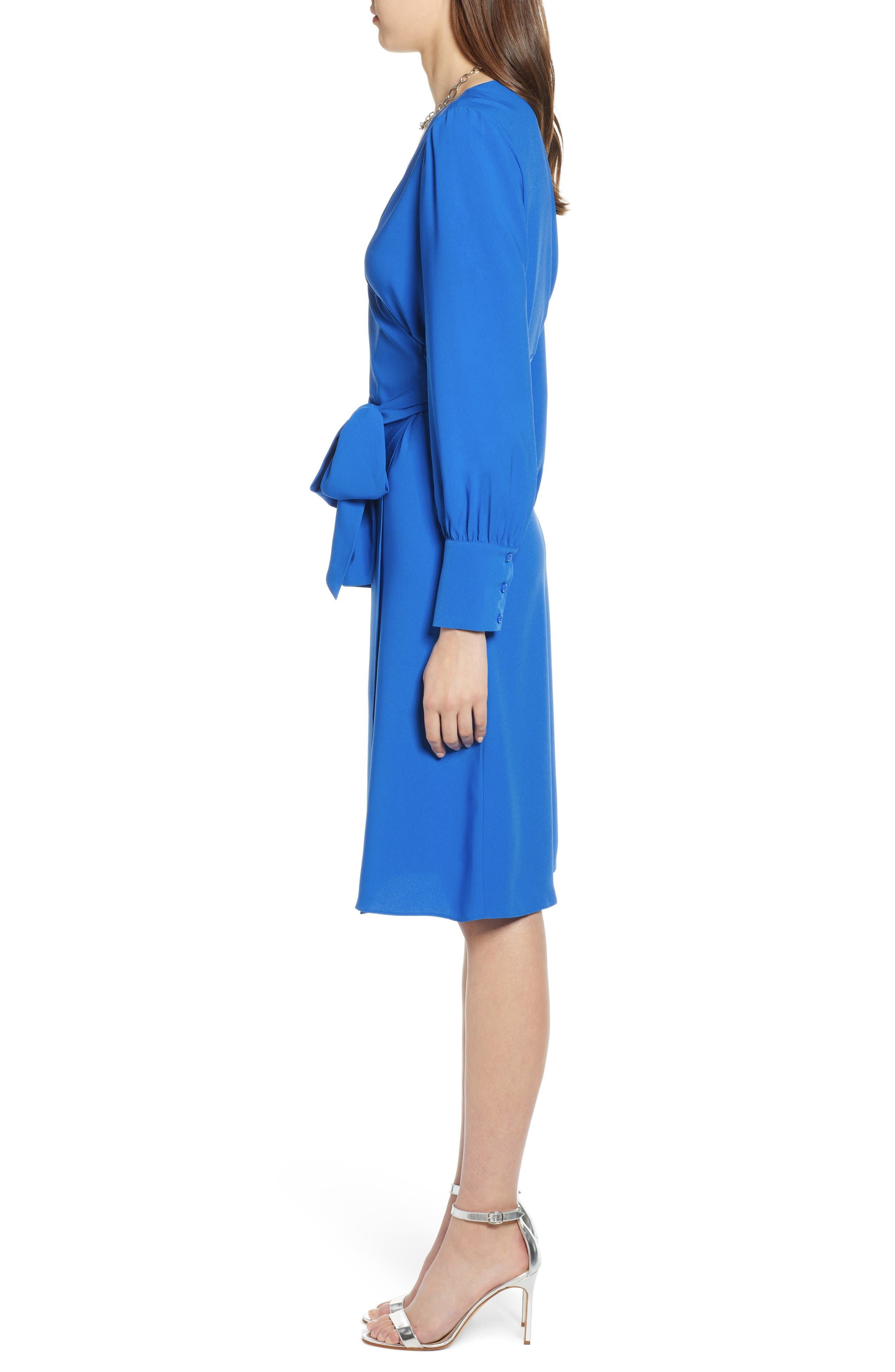 HALOGEN<SUP>®</SUP>, Wrap Dress, Alternate thumbnail 4, color, BLUE VICTORIA