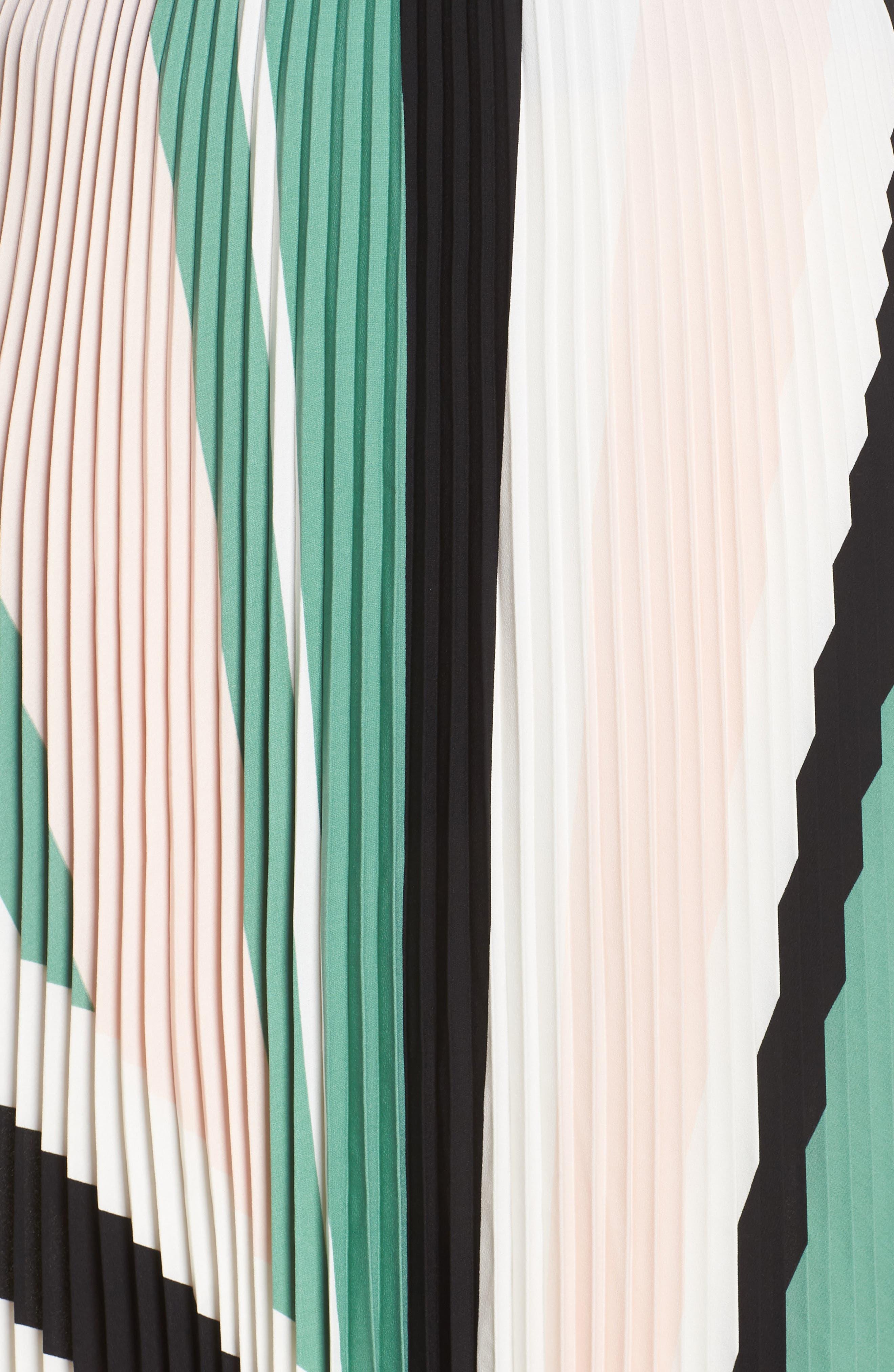 LEITH, Pleated Midi Skirt, Alternate thumbnail 11, color, PINK CHINTZ TRIANGLE STRIPE