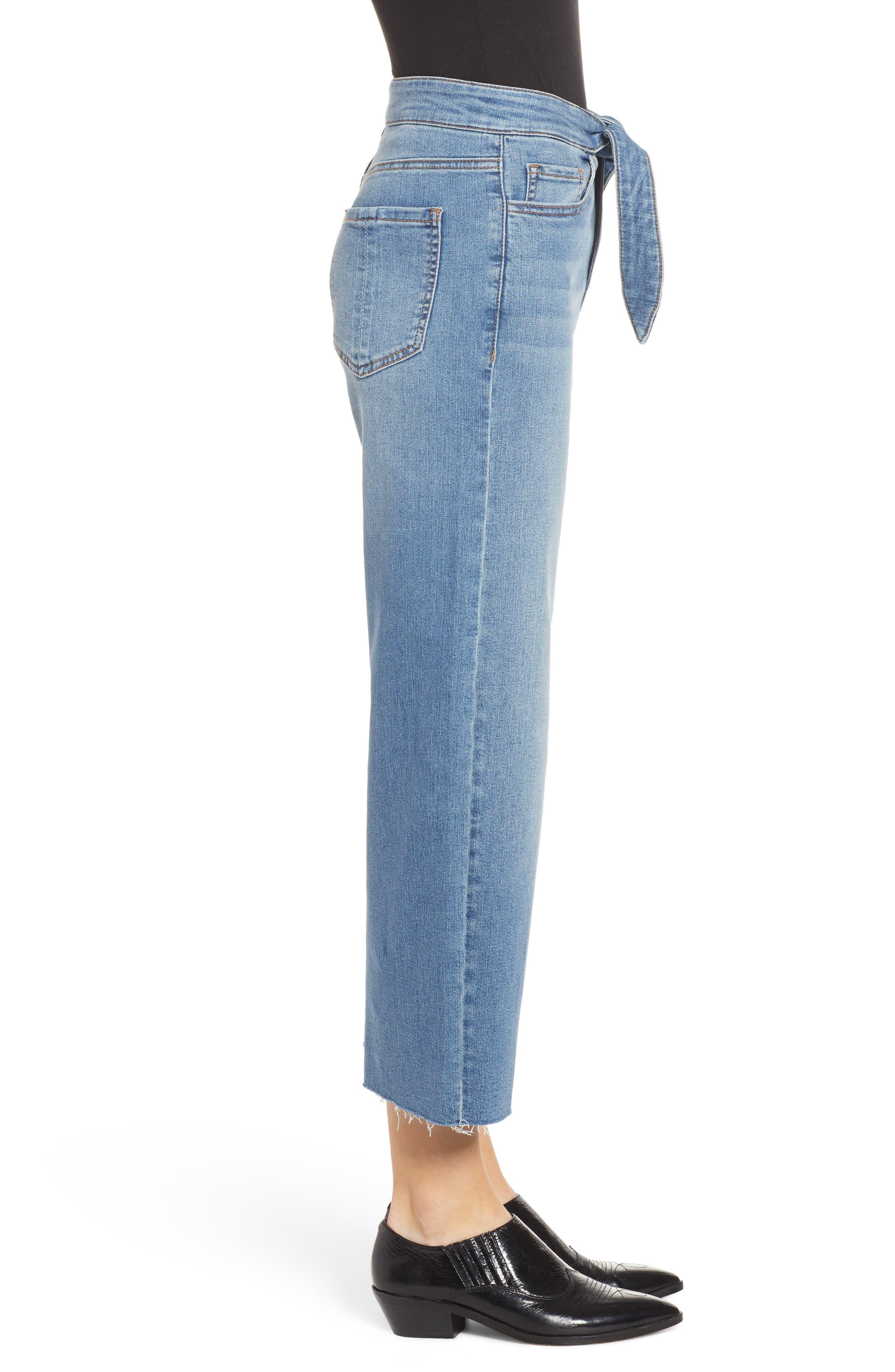 PROSPERITY DENIM, Belted Crop Wide Leg Jeans, Alternate thumbnail 4, color, PRETTY WASH