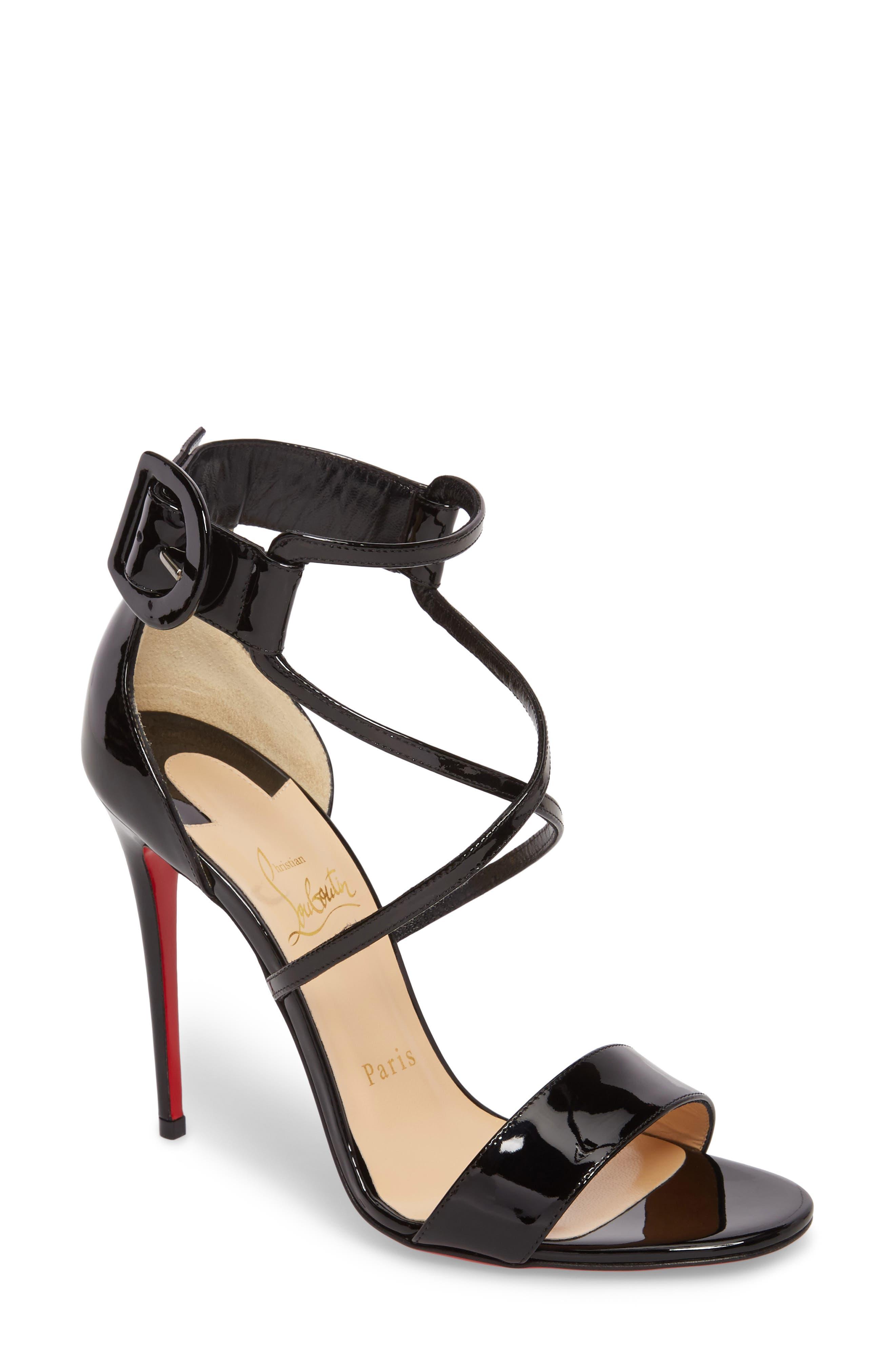 CHRISTIAN LOUBOUTIN Choca Criss Sandal, Main, color, BLACK PATENT