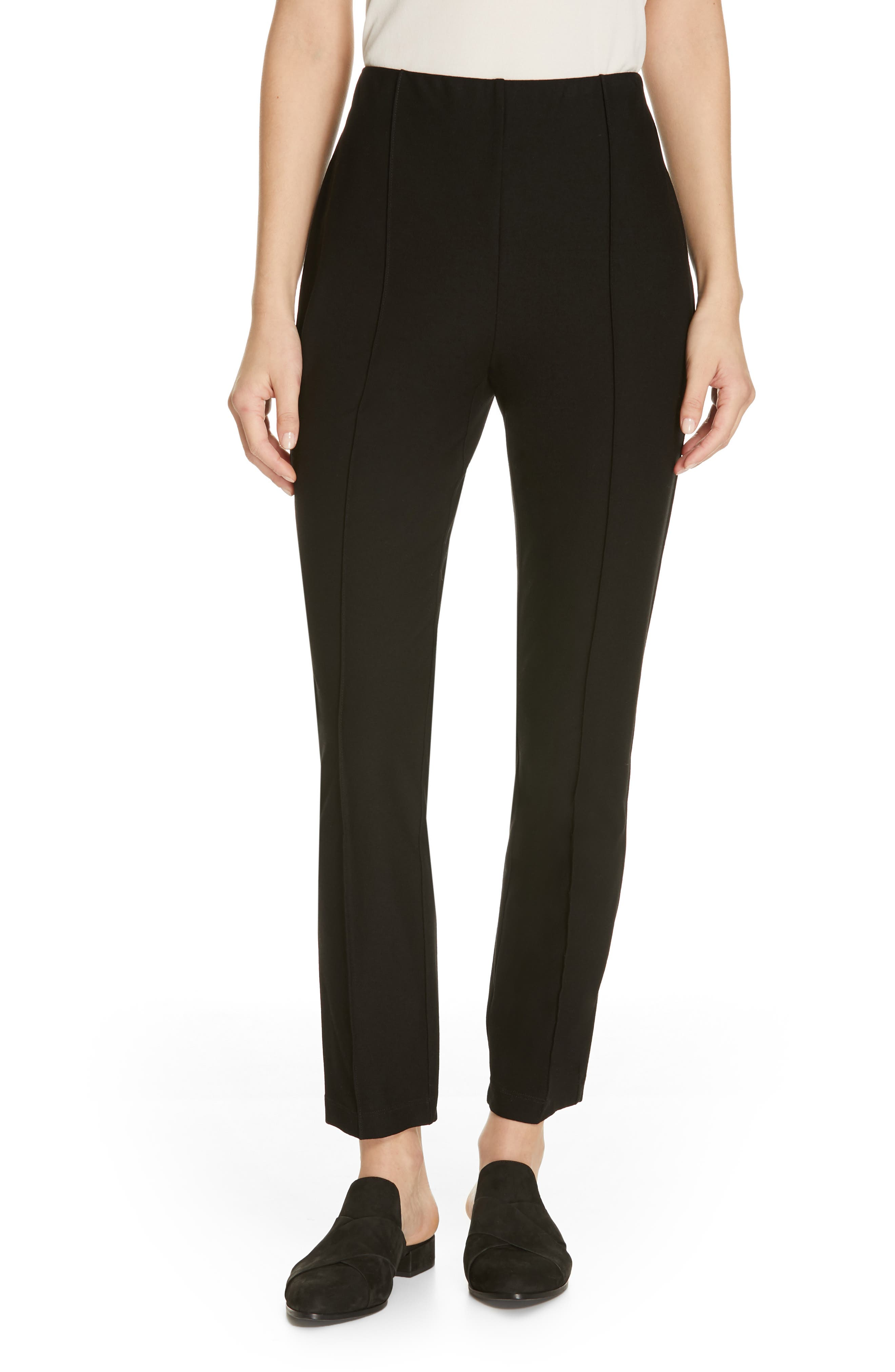 EILEEN FISHER, High Waist Slim Ankle Pants, Main thumbnail 1, color, 001