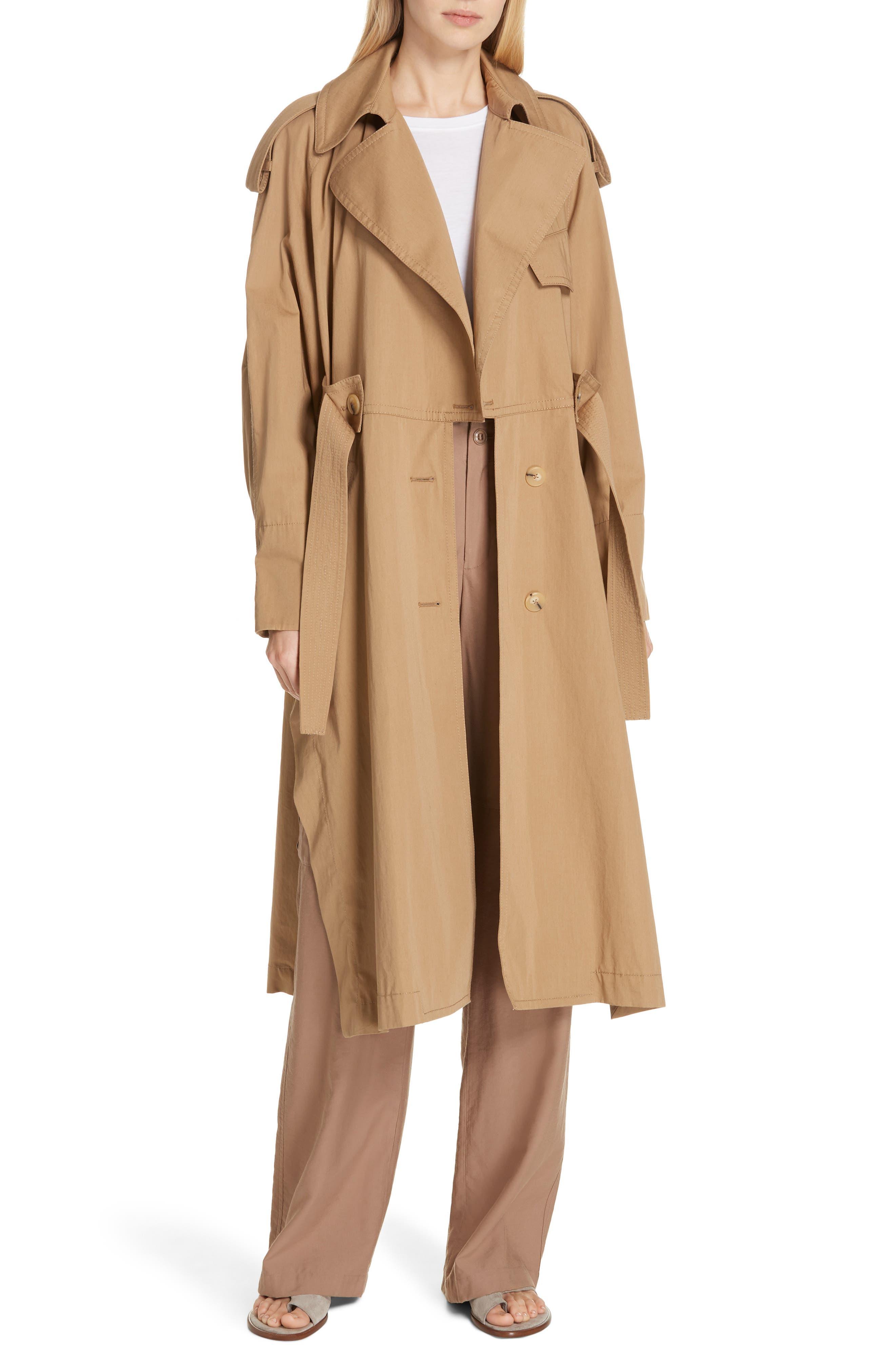 VINCE Long Trench Coat, Main, color, DK KHAKI