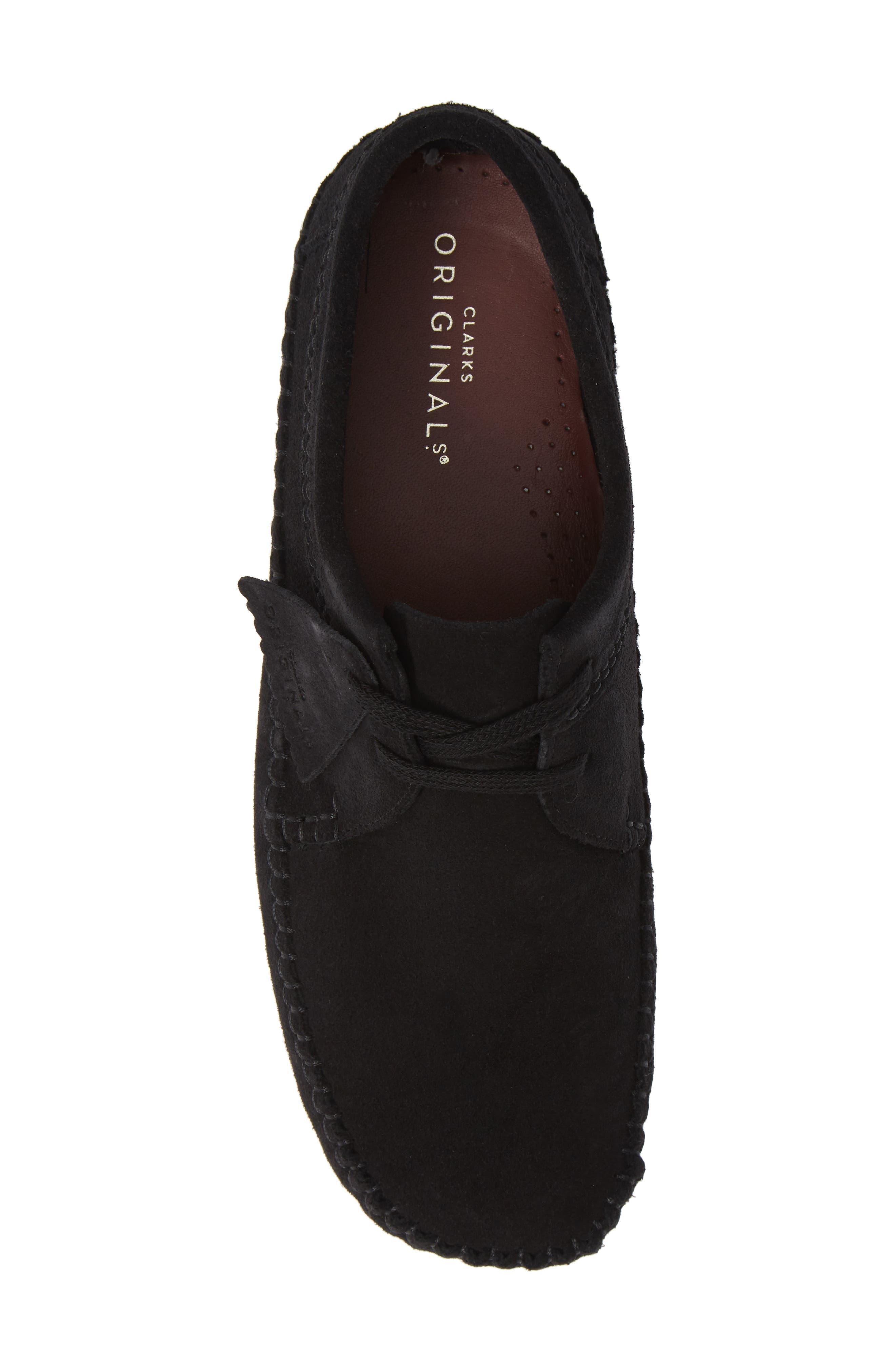 CLARKS<SUP>®</SUP>, 'Weaver' Moc Toe Derby, Alternate thumbnail 5, color, BLACK SUEDE