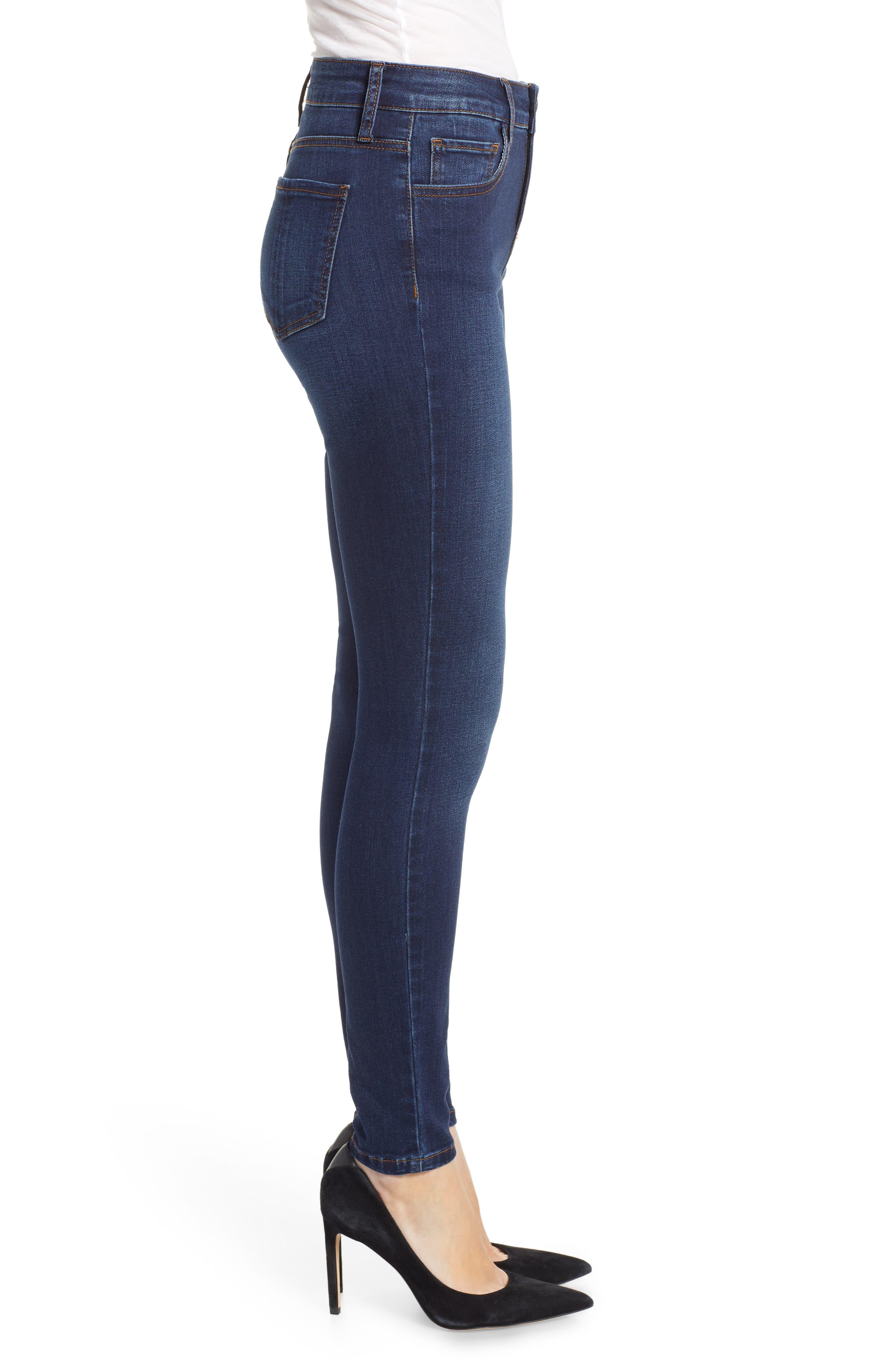 PROSPERITY DENIM, High Waist Skinny Jeans, Alternate thumbnail 4, color, DARK