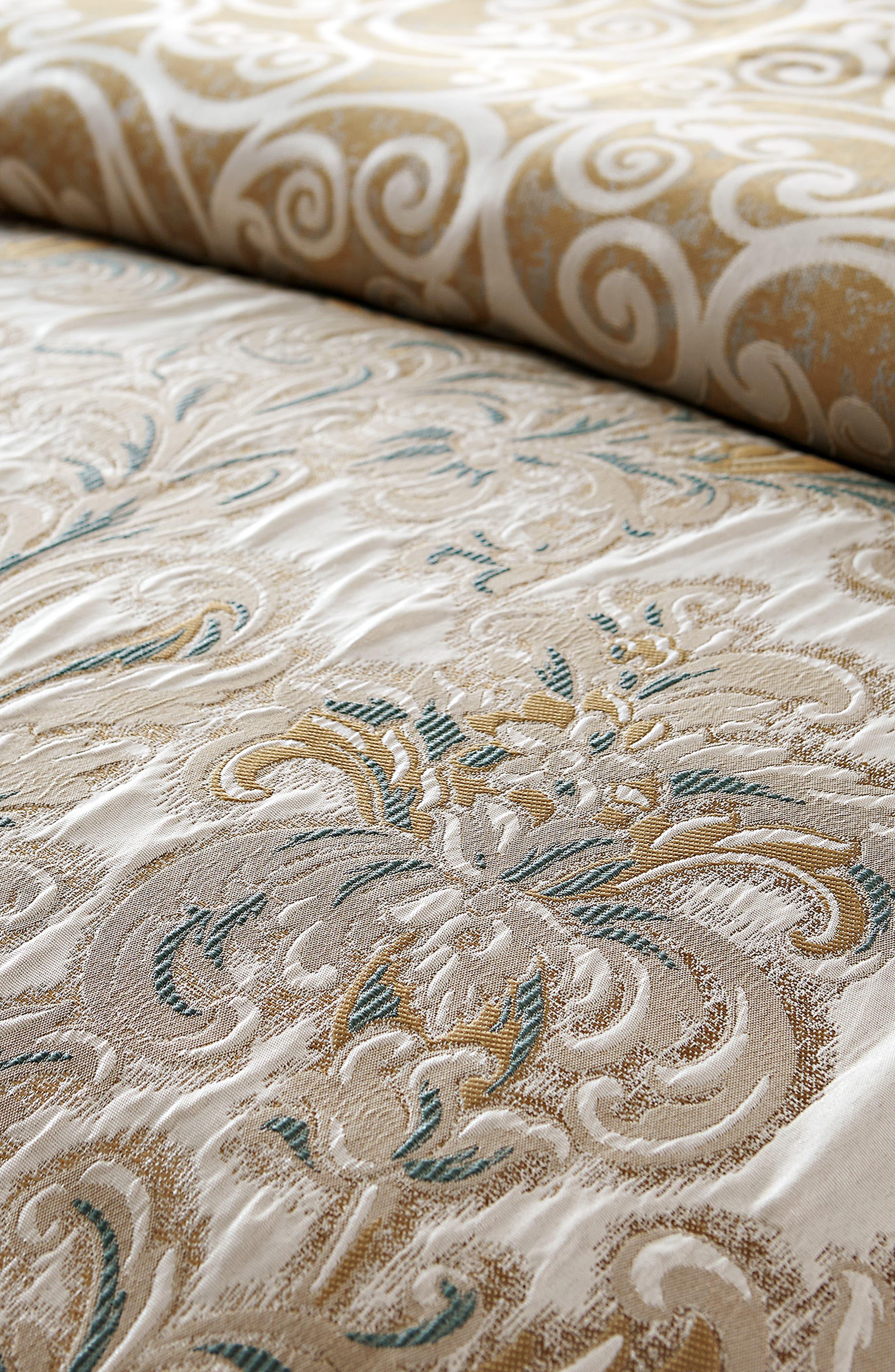 WATERFORD, Anora Comforter, Sham & Bed Skirt Set, Alternate thumbnail 2, color, BRASS/ JADE
