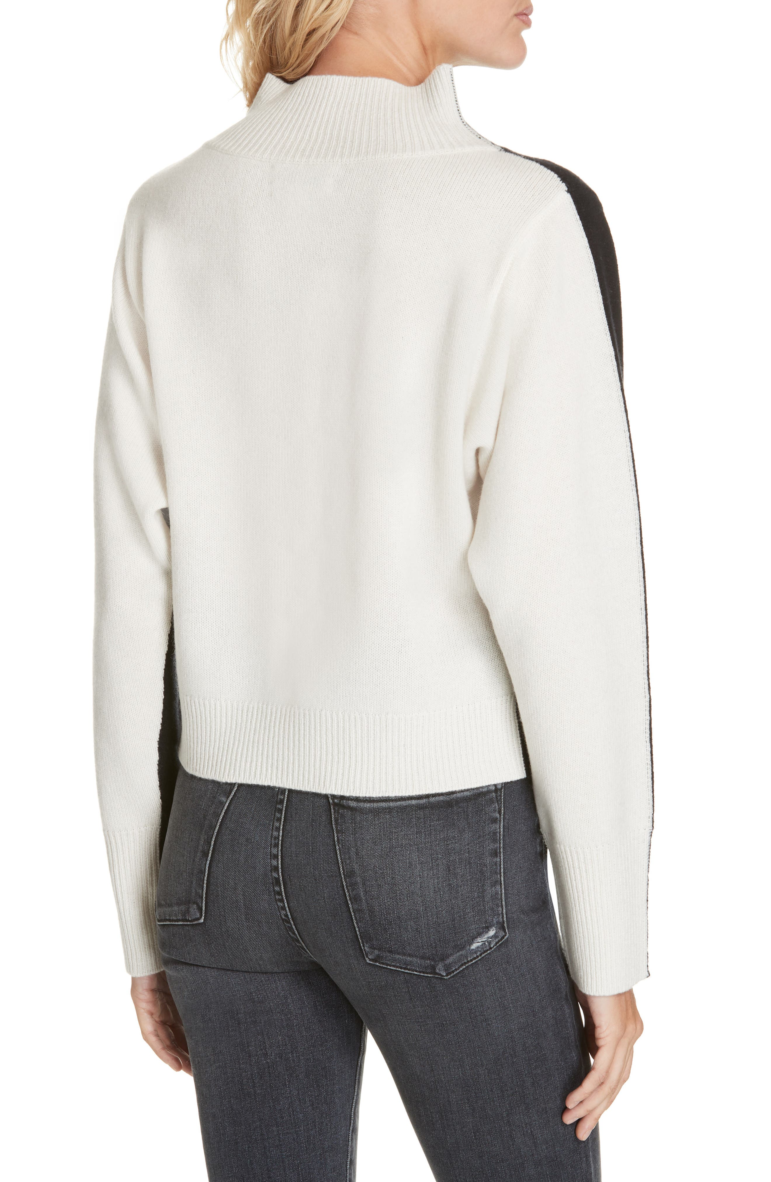 NORDSTROM SIGNATURE, Colorblock Cashmere Sweater, Alternate thumbnail 2, color, BLACK- IVORY COMBO