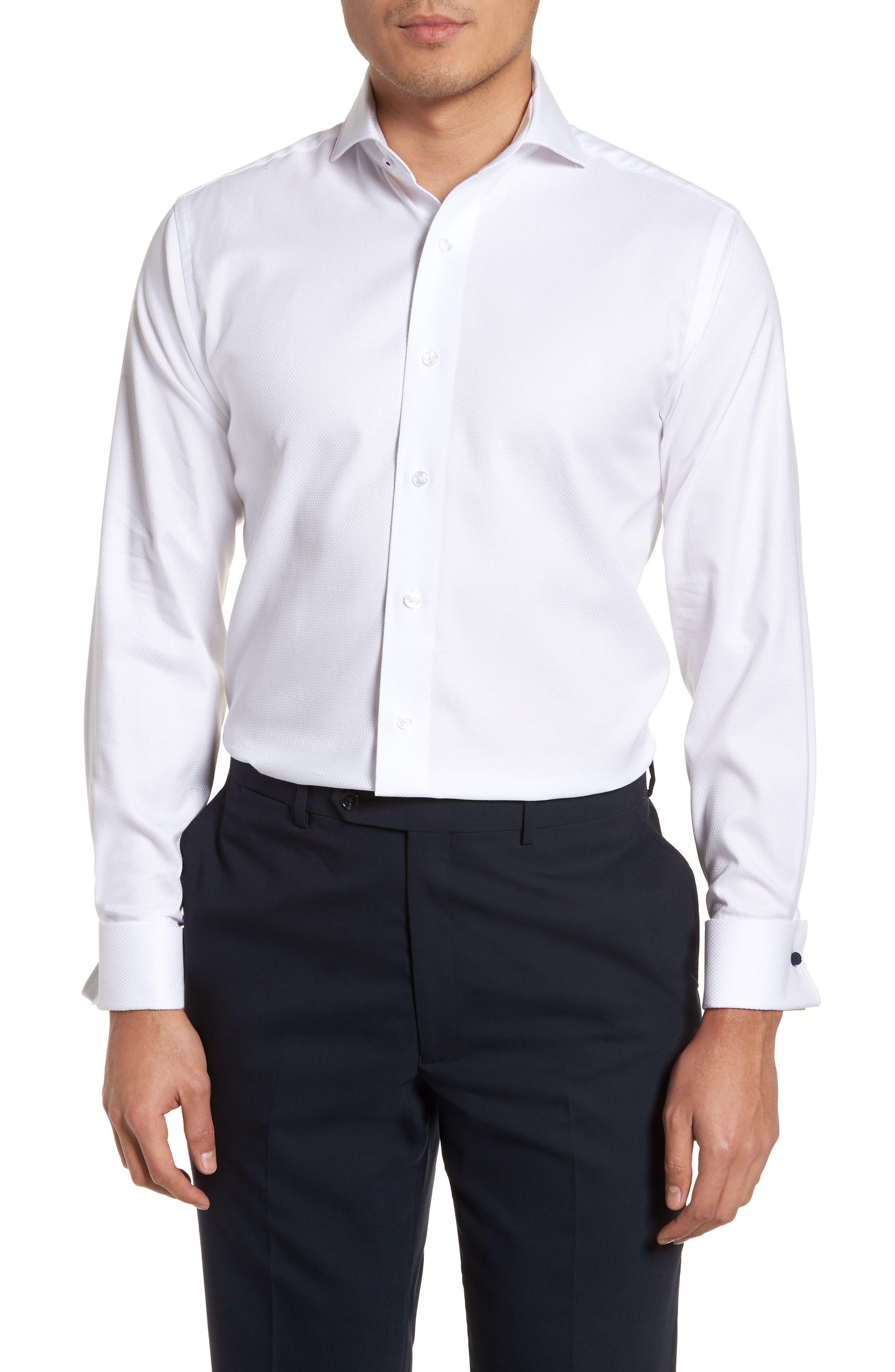 LORENZO UOMO, Trim Fit Basket Weave Dress Shirt, Main thumbnail 1, color, WHITE