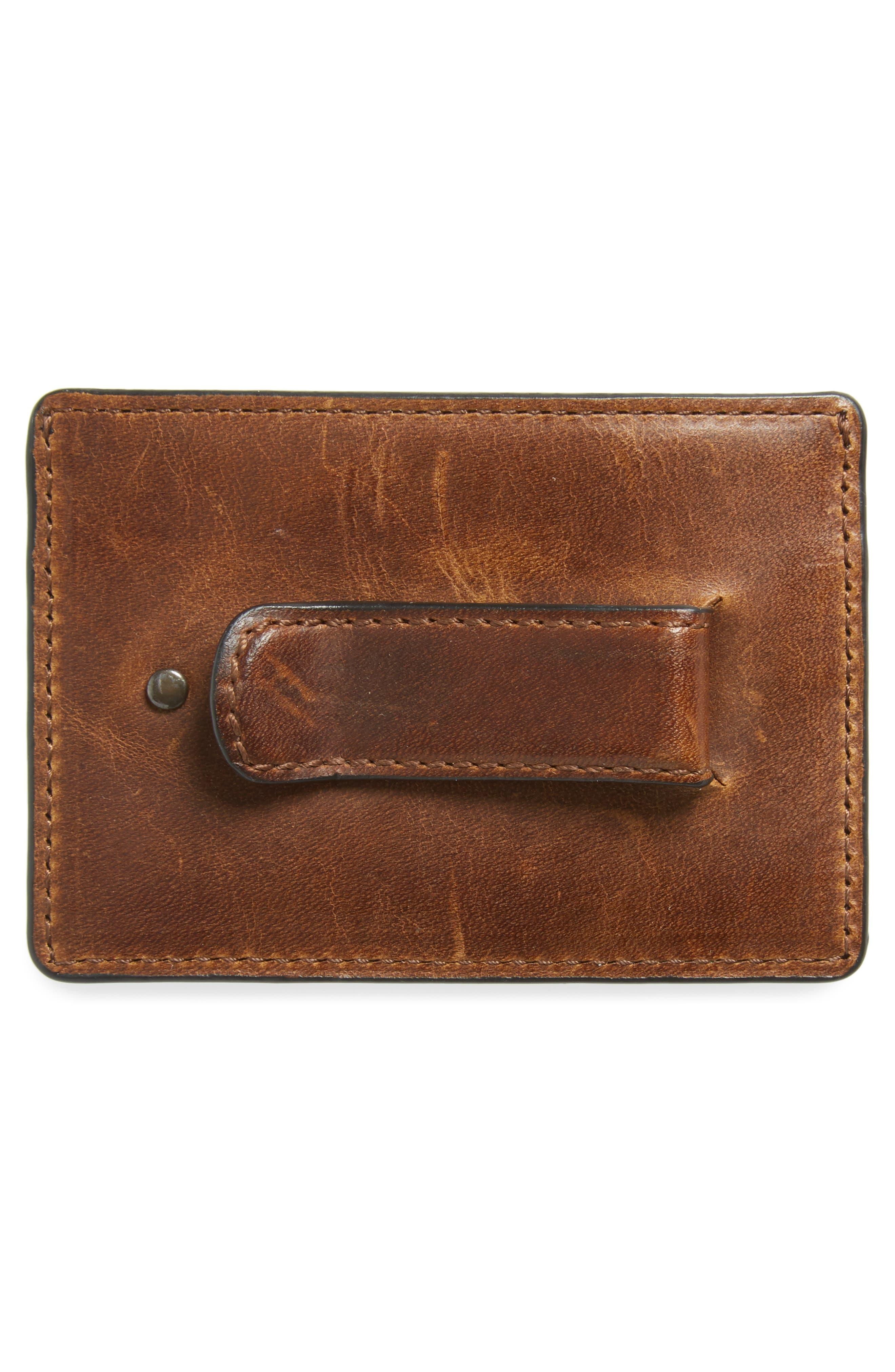 FRYE, Logan Leather Money Clip Card Case, Alternate thumbnail 2, color, DARK BROWN