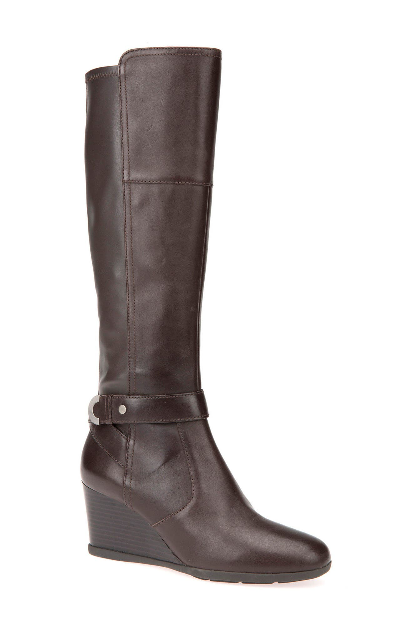 Geox Inspiration Knee High Wedge Boot, Brown