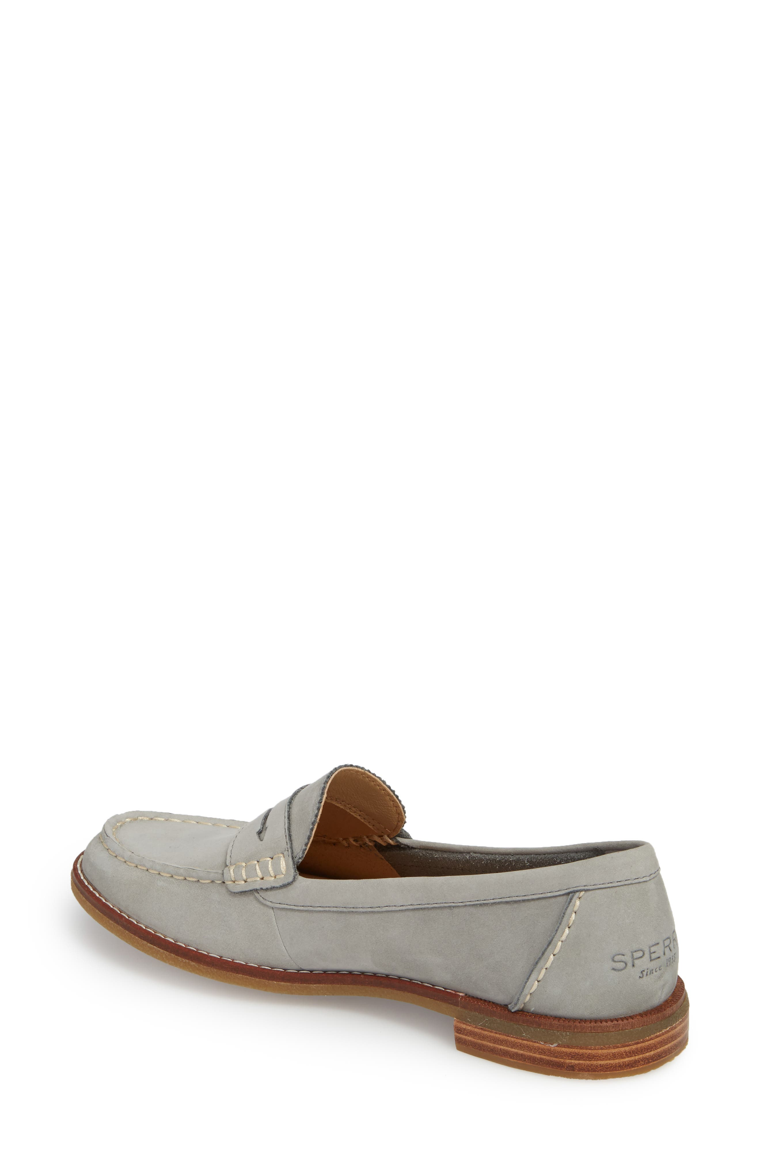 SPERRY, Seaport Penny Loafer, Alternate thumbnail 2, color, GREY LEATHER