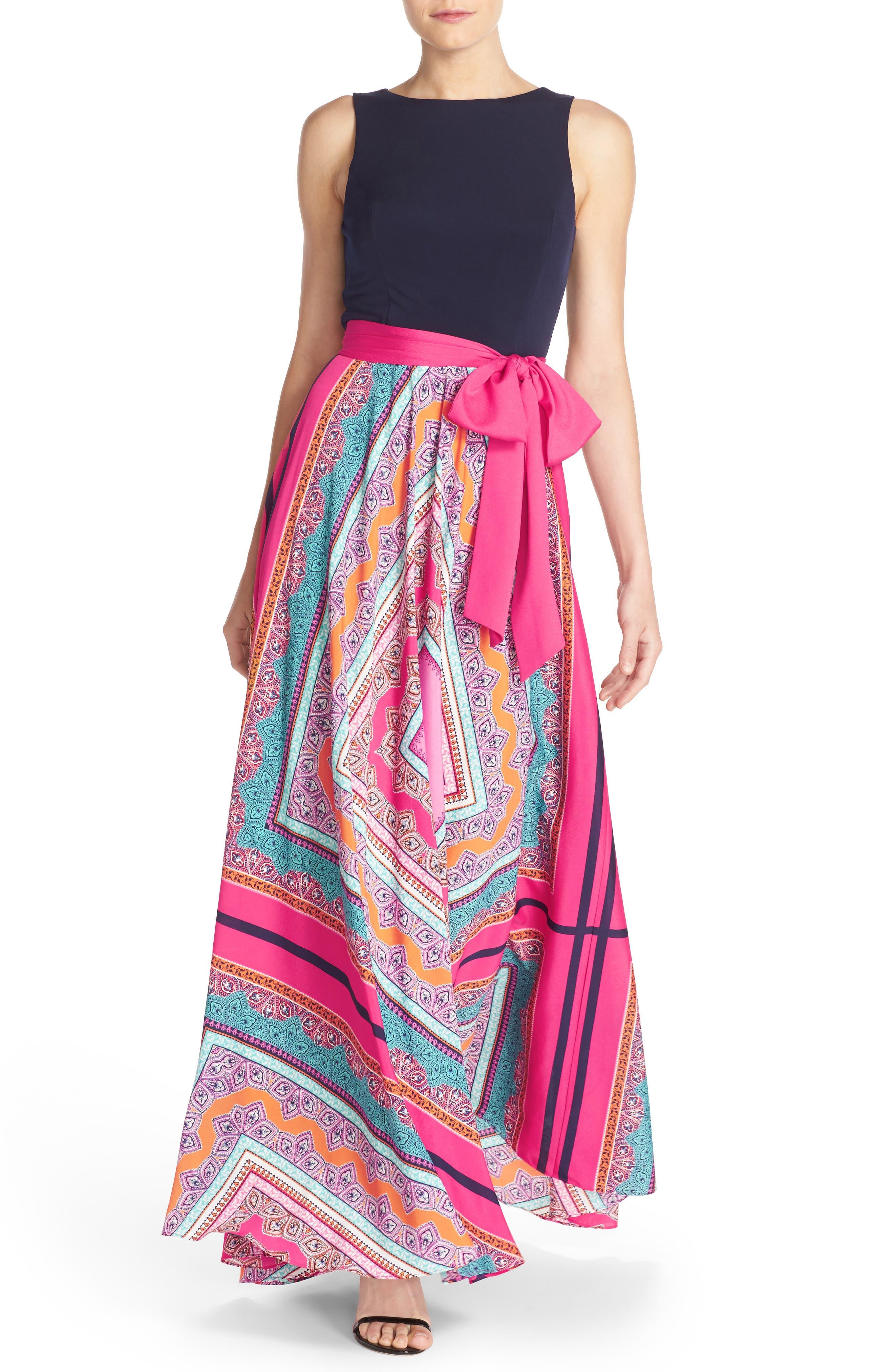 ELIZA J, Scarf Print Jersey & Crêpe de Chine Maxi Dress, Alternate thumbnail 10, color, PINK
