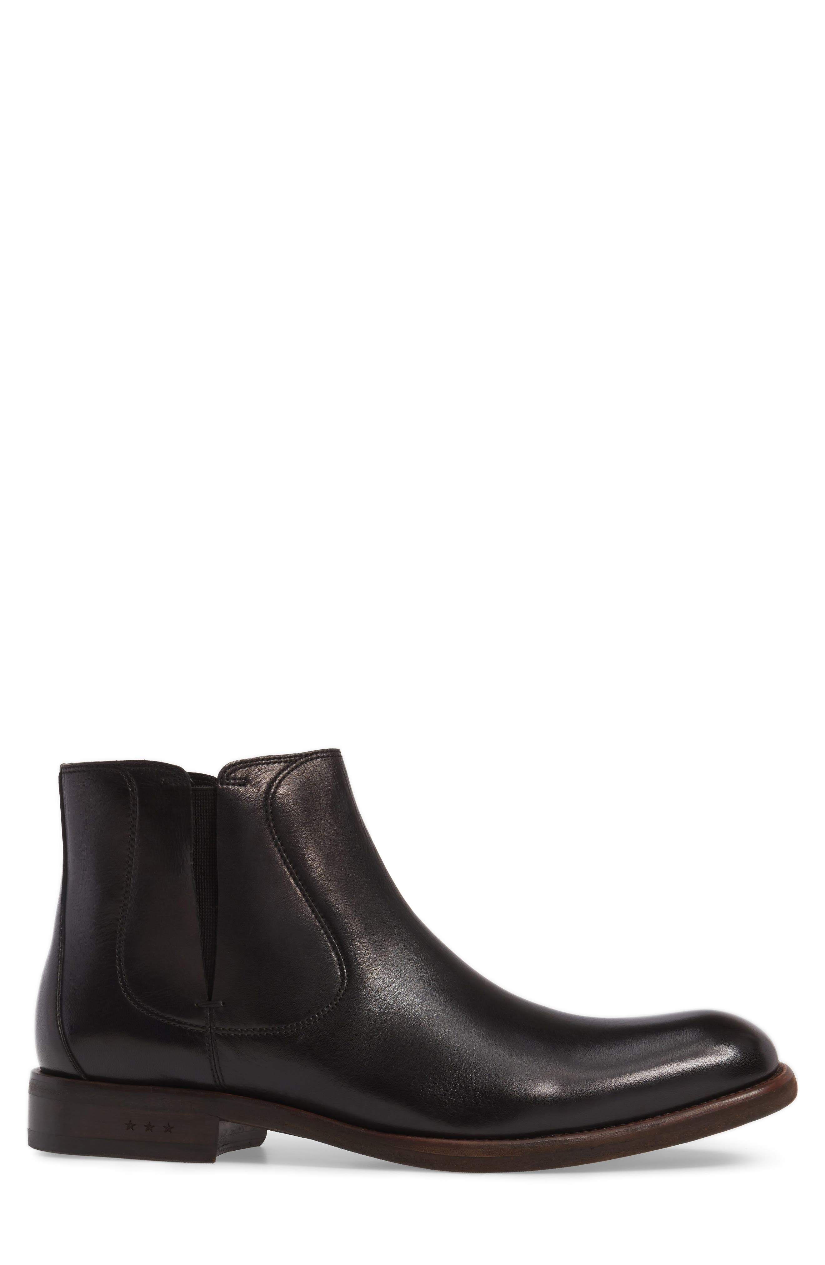 JOHN VARVATOS STAR USA, Waverley Chelsea Boot, Alternate thumbnail 3, color, BLACK LEATHER