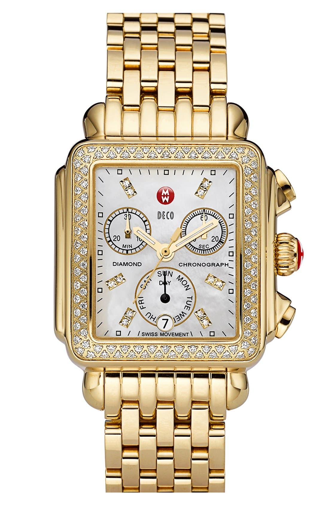 MICHELE, Deco Diamond Diamond Dial Gold Plated Watch Case, 33mm x 35mm, Alternate thumbnail 5, color, GOLD