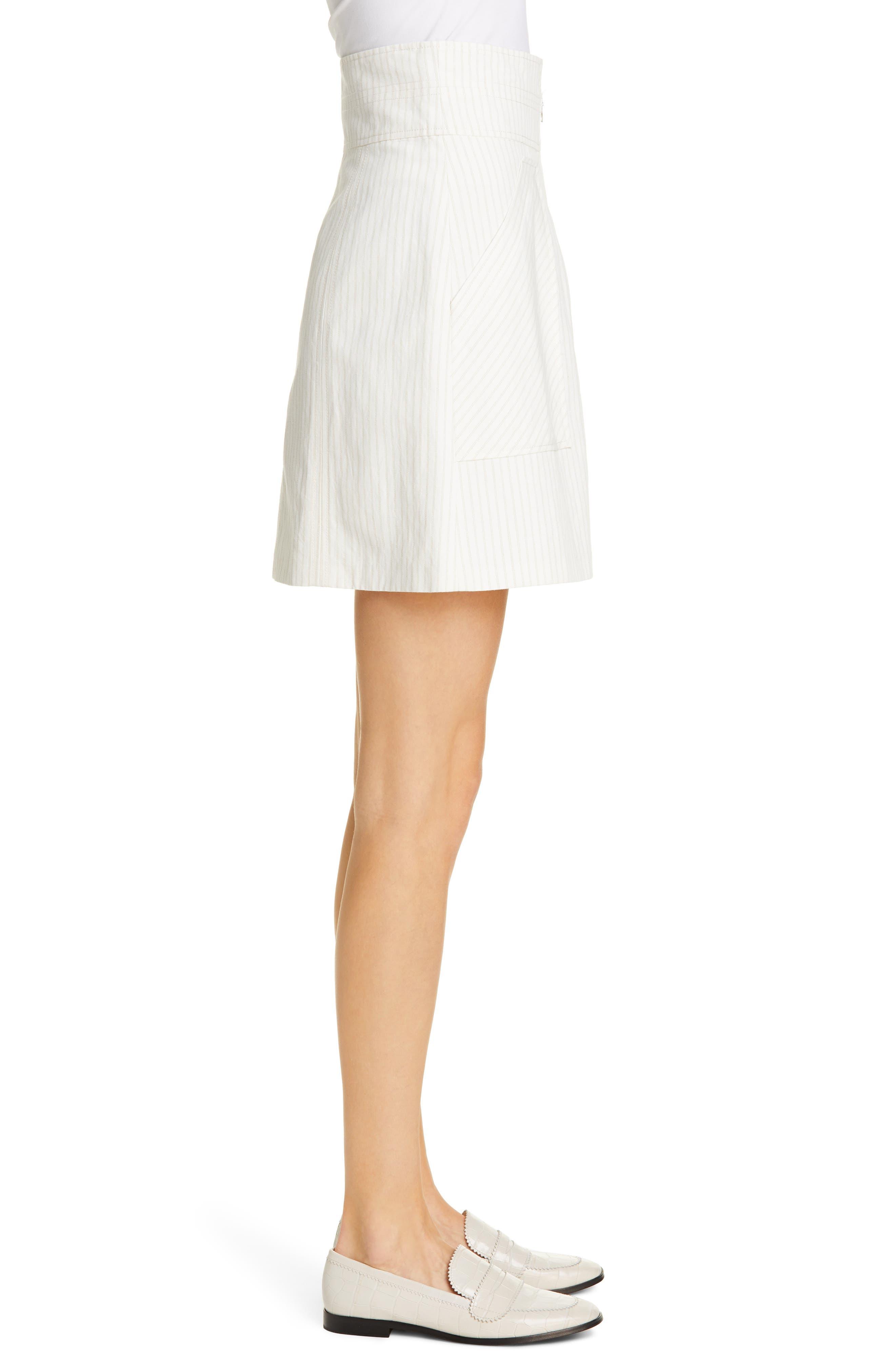 REBECCA TAYLOR, Zip Front Pinstripe Cotton & Linen Skirt, Alternate thumbnail 3, color, SNOW COMBO