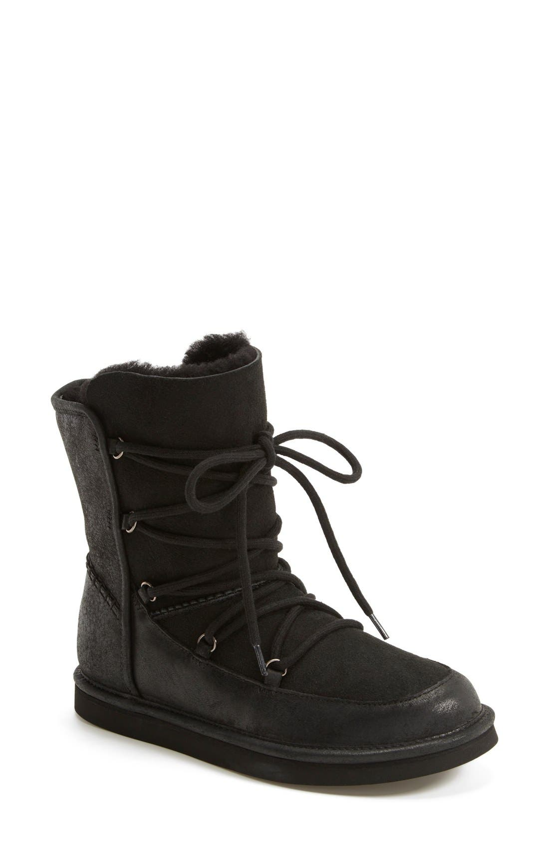 UGG<SUP>®</SUP> Lodge Water Resistant Lace-Up Boot, Main, color, 001