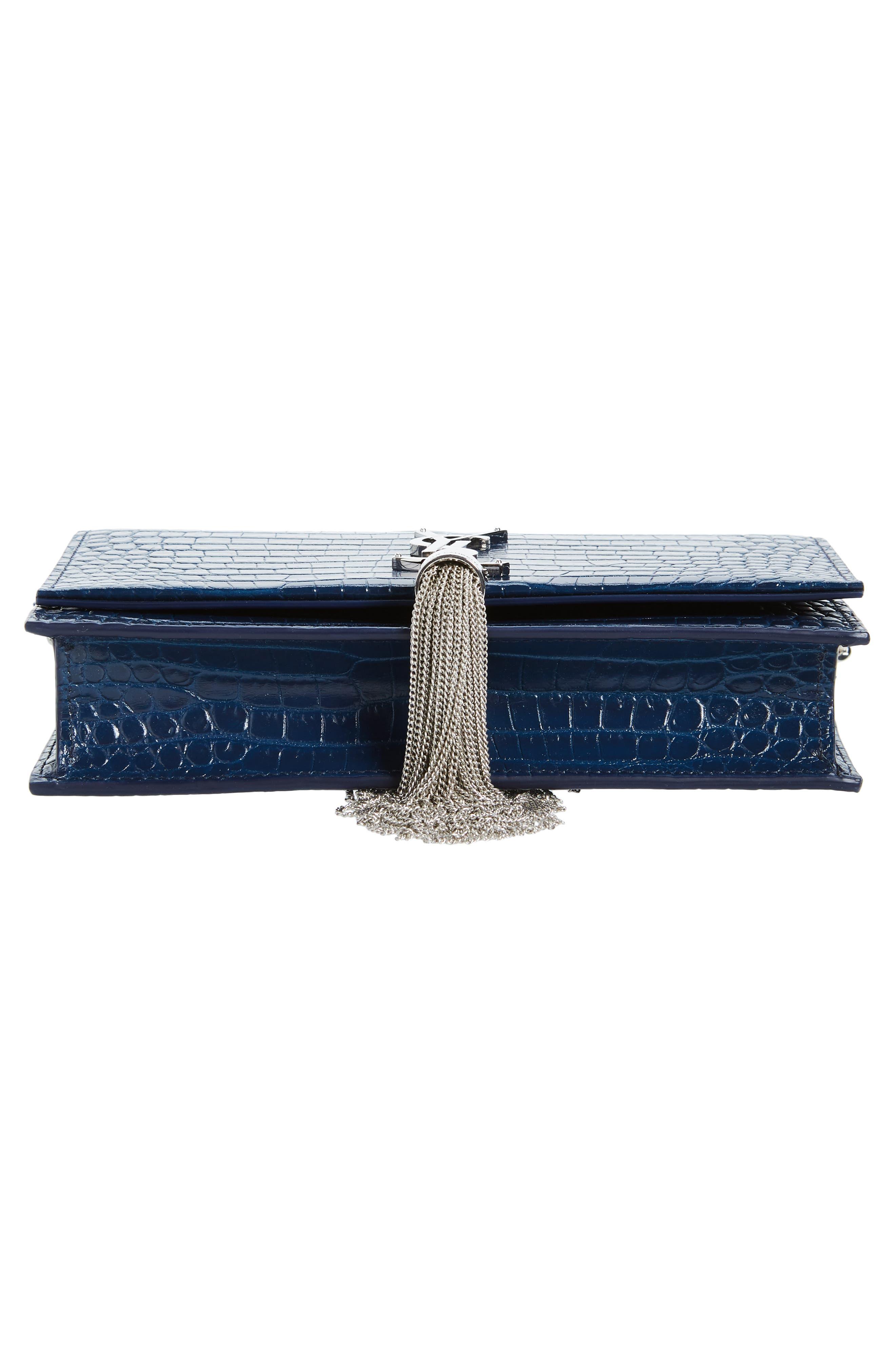 SAINT LAURENT, Kate Croc Embossed Leather Wallet on a Chain, Alternate thumbnail 7, color, DENIM BLUE/ DENIM BLUE